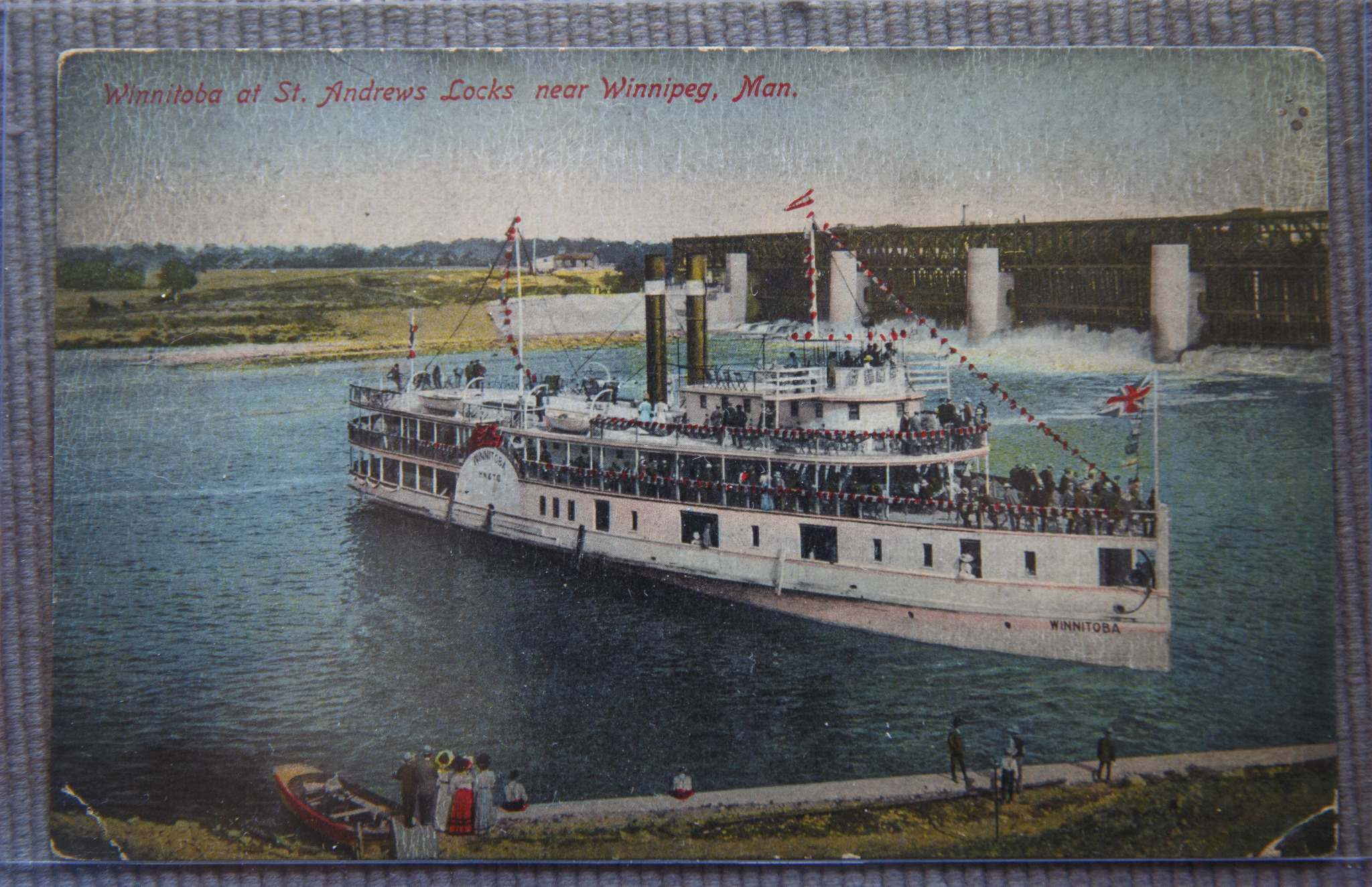 A postcard featuring the S.S. Winnitoba.