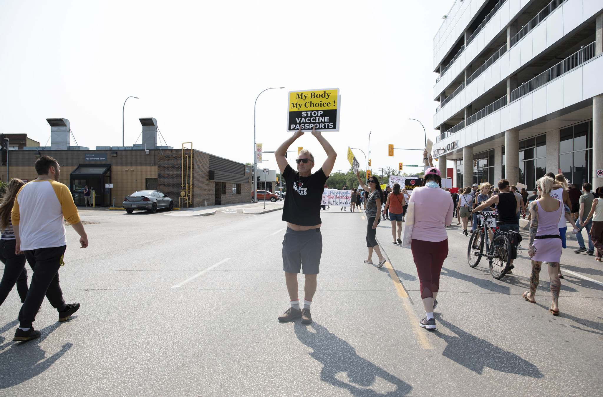 Hundreds gathered outside the Health Sciences Centre in Winnipeg on Wednesday to protest against vaccines, vaccine passports and COVID restrictions.