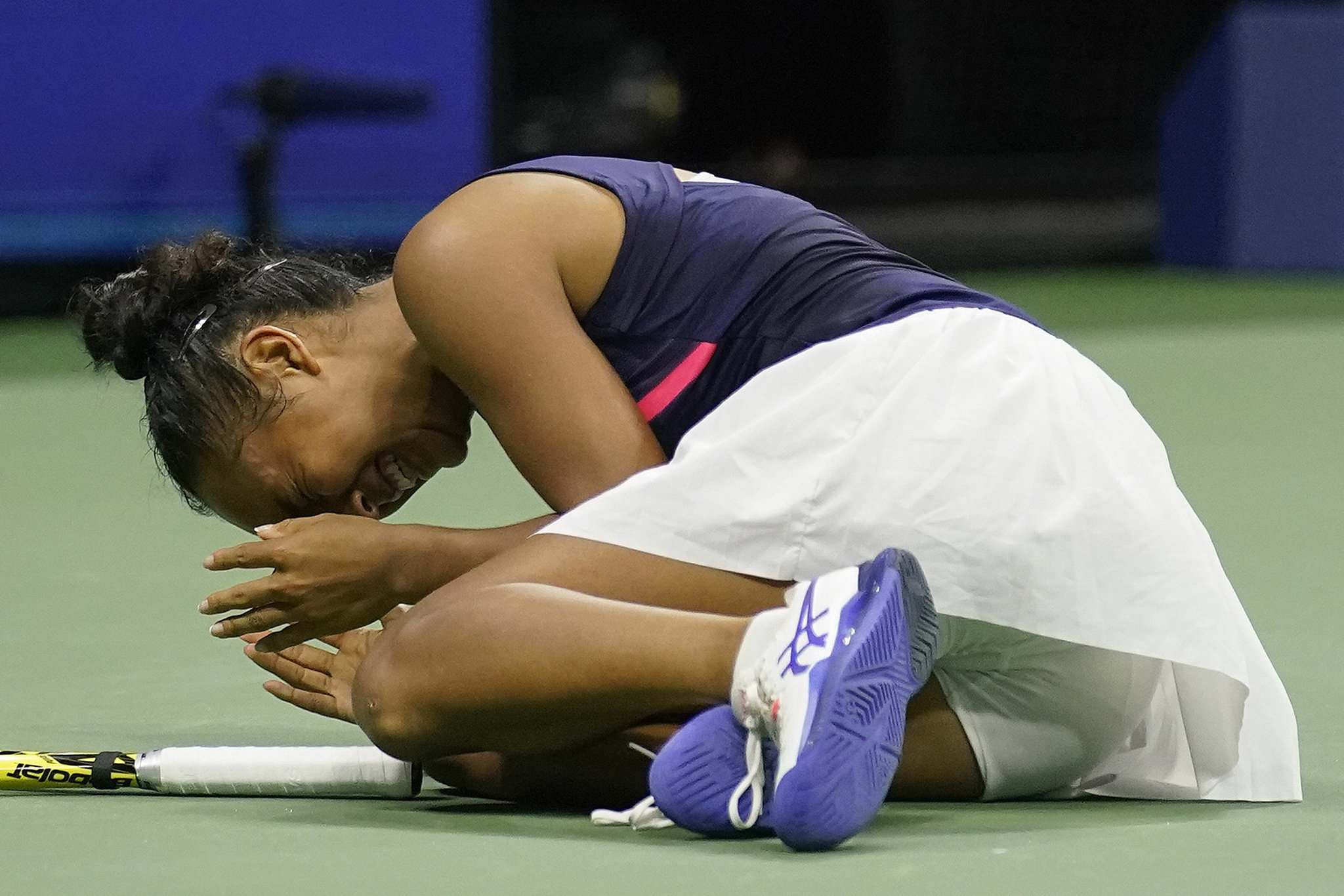 Fernandez reacts after defeating Aryna Sabalenka during the semifinals of the US Open tennis championships, Thursday, in New York.
