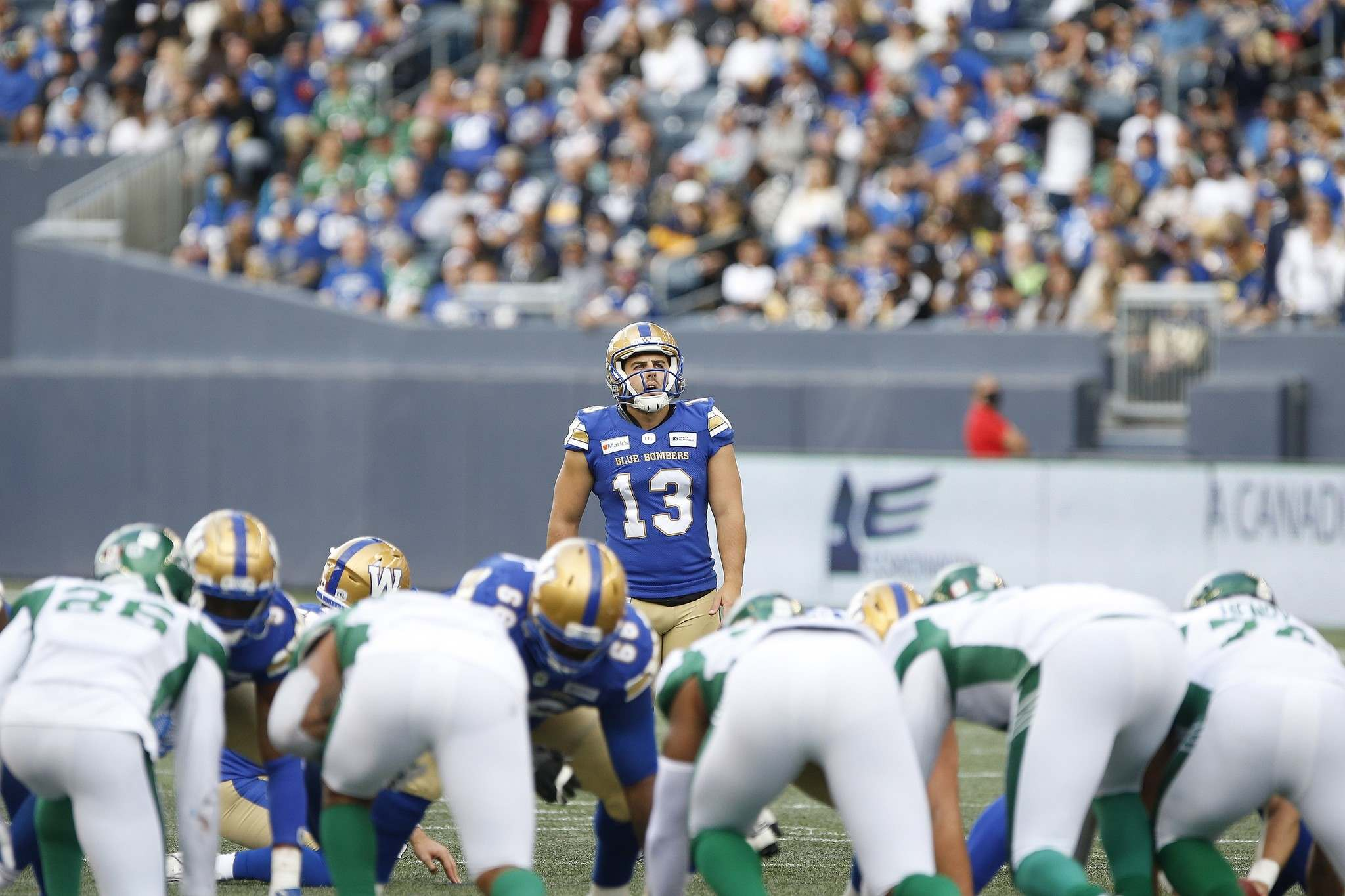 Winnipeg Blue Bombers kicker Marc Liegghio had another rough outing against the Saskatchewan Roughriders. (John Woods / The Canadian Press files)</p>