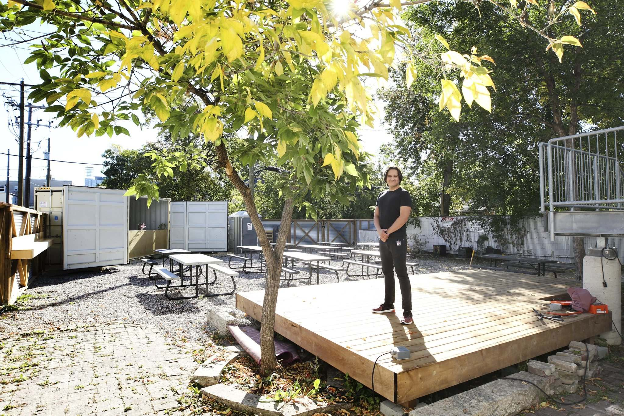 The patio is an effort to connect with people who live and work in the neighbourhood, says artistic director Jorge Requena Ramos. (Ruth Bonneville / Winnipeg Free Press)