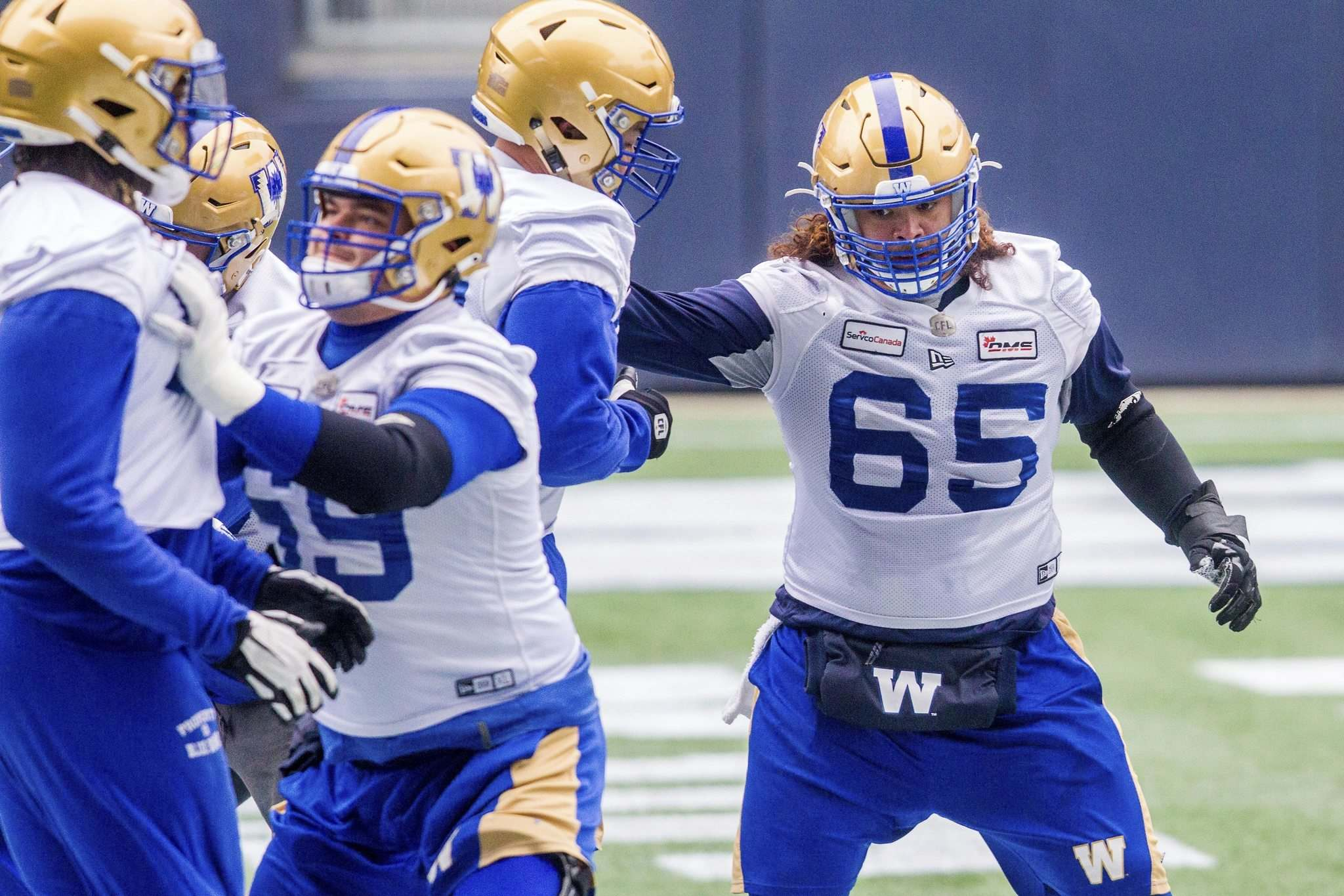 The Bombers are confident offensive lineman Asotui Eli (right) can fill in if Jermarcus Hardrick isn't able to play Friday against the Elks in Edmonton. (Mikaela MacKenzie / Winnipeg Free Press)</p>
