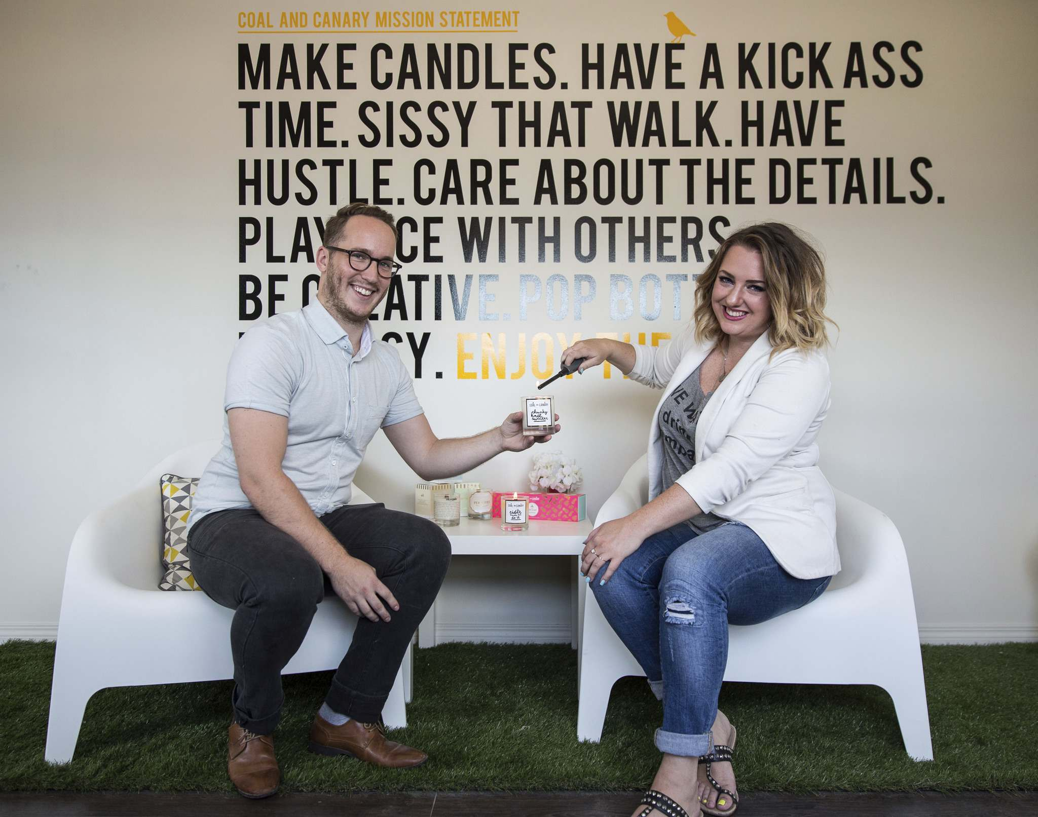 Tom Jansen and Amanda Buhse are co-founders of the now-ubiquitous Coal & Canary Candle Co., a local business who has leveraged Instagram in a big way. They just opened a new office/production house on Sanford Street to meet demand.