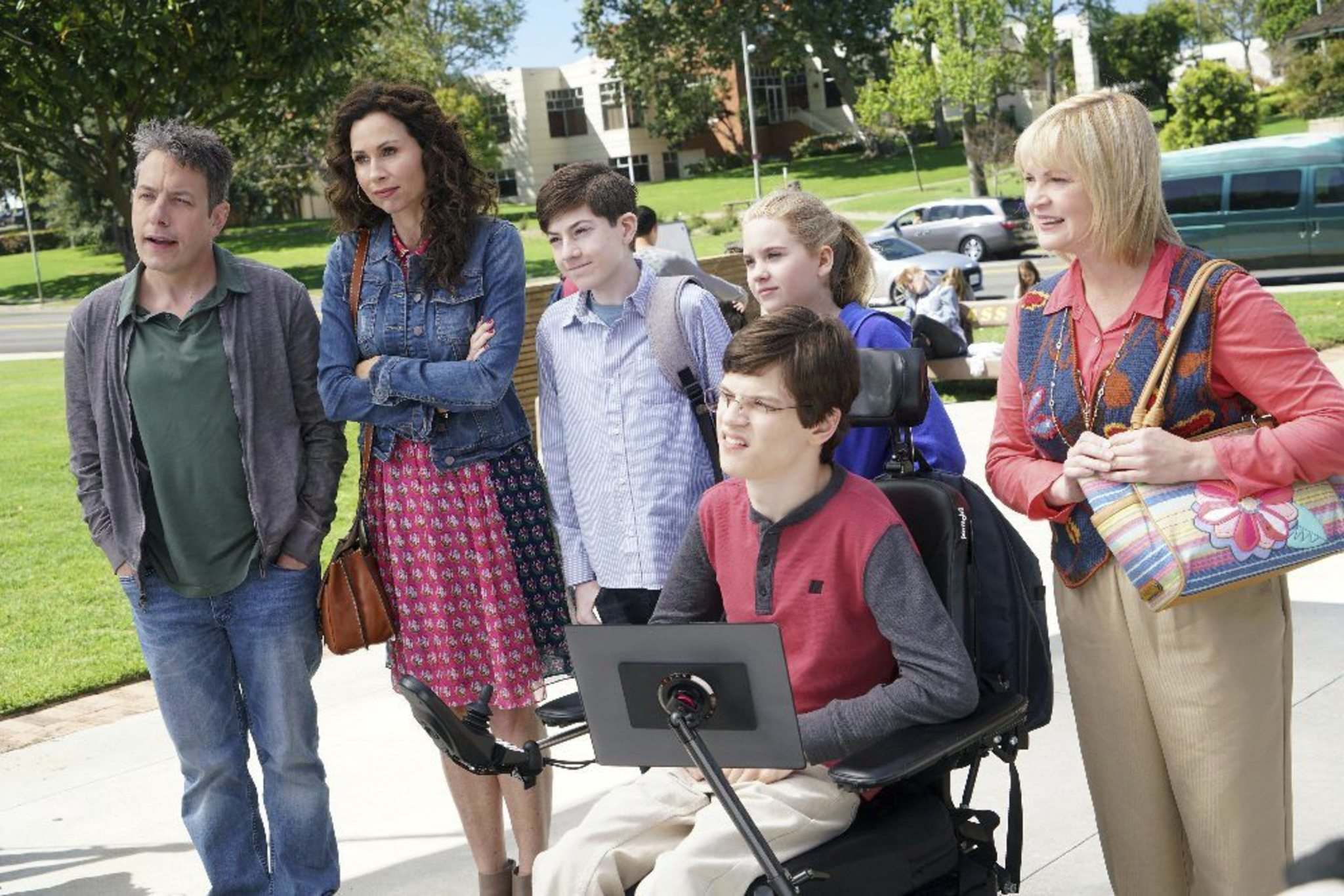 Adam Taylor / ABC</p><p>(From left): John Ross Bowie, Minnie Driver, Mason Cook, Kyla Kenedy, Micah Fowler and Dina Spybey-Waters star in Speechless.</p></p>