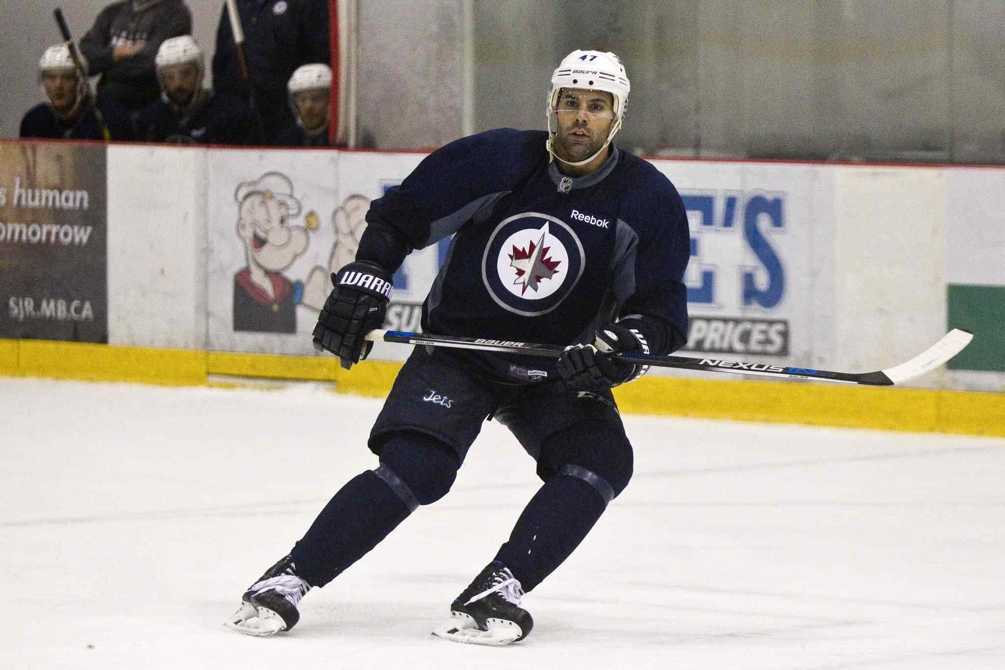 MIKE DEAL / WINNIPEG FREE PRESS Winnipeg Jets' Brian Strait (47) during training camp at the MTS IcePlex Sunday afternoon. </p>