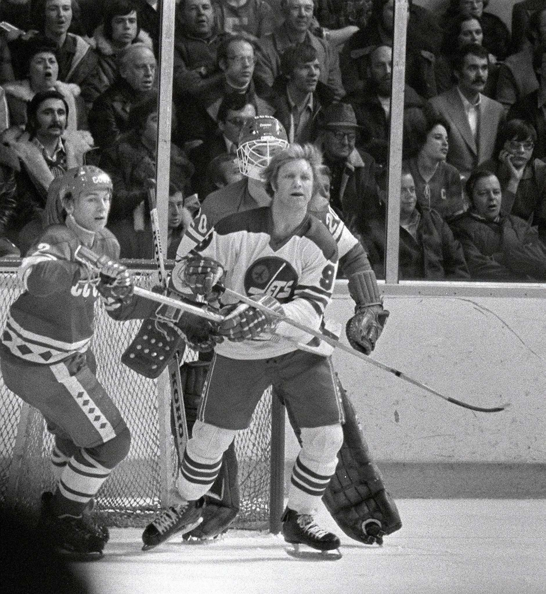 JON THORDARSON / WINNIPEG TRIBUNE FILES</p><p>Bobby Hull takes up position in front of legendary goalie Vlasislav Tretiak. The Soviets started Alexander Sidelnikov but he was pulled after allowing four goals, including two by Hull.</p></p>