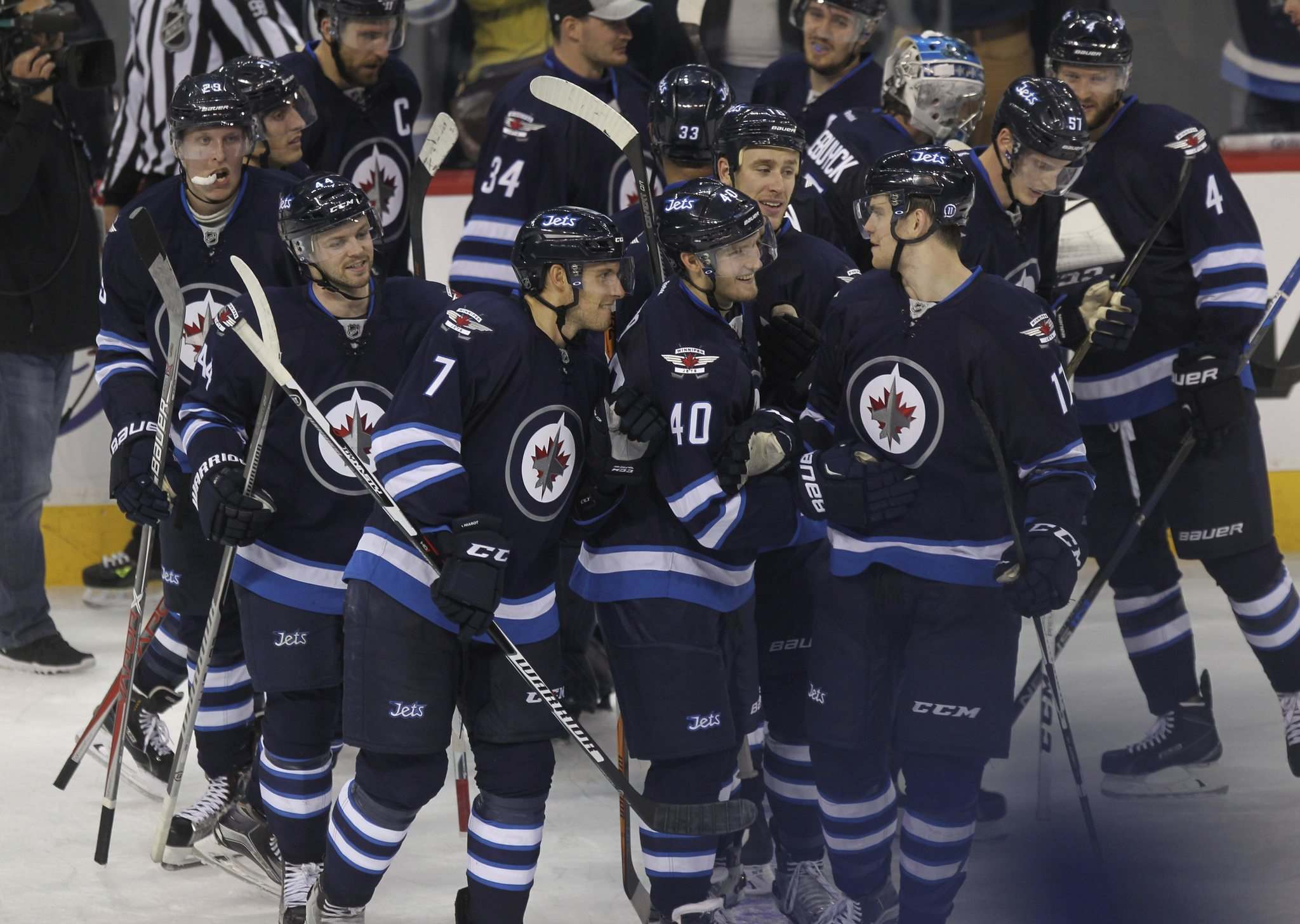 RUTH BONNEVILLE / WINNIPEG FREE PRESS</p><p>The Winnipeg Jets celebrate winning their game against the Carolina Hurricanes' 5-4 in overtime at MTS Centre.</p>