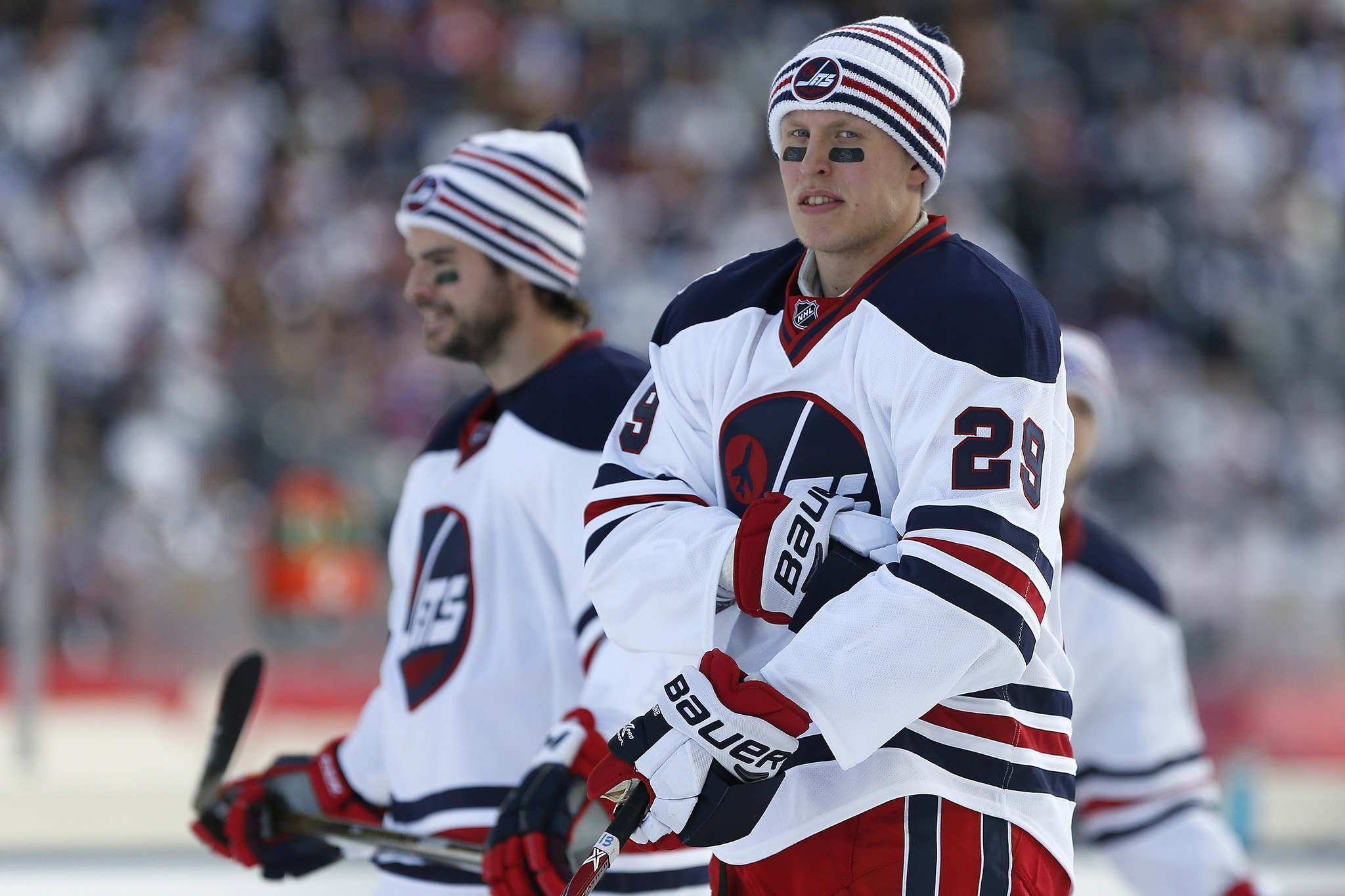 JOHN WOODS / THE CANADIAN PRESS</p><p>Winnipeg Jets' Drew Stafford (12) and Patrik Laine (29) during the warmup skate at the NHL Heritage Classic in Winnipeg on Sunday.</p>