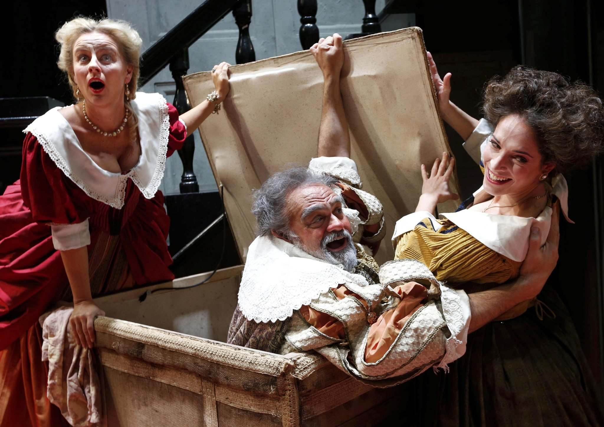 WAYNE GLOWACKI / WINNIPEG FREE PRESS</p><p>Todd Thomas who is singing Falstaff with Monica Huisman (left) as Alice Ford and Lauren Segal, as Meg Page in the Manitoba Opera performance Falstaff at the Centennial Concert Hall. Holly Harris story Nov. 15 2016</p>
