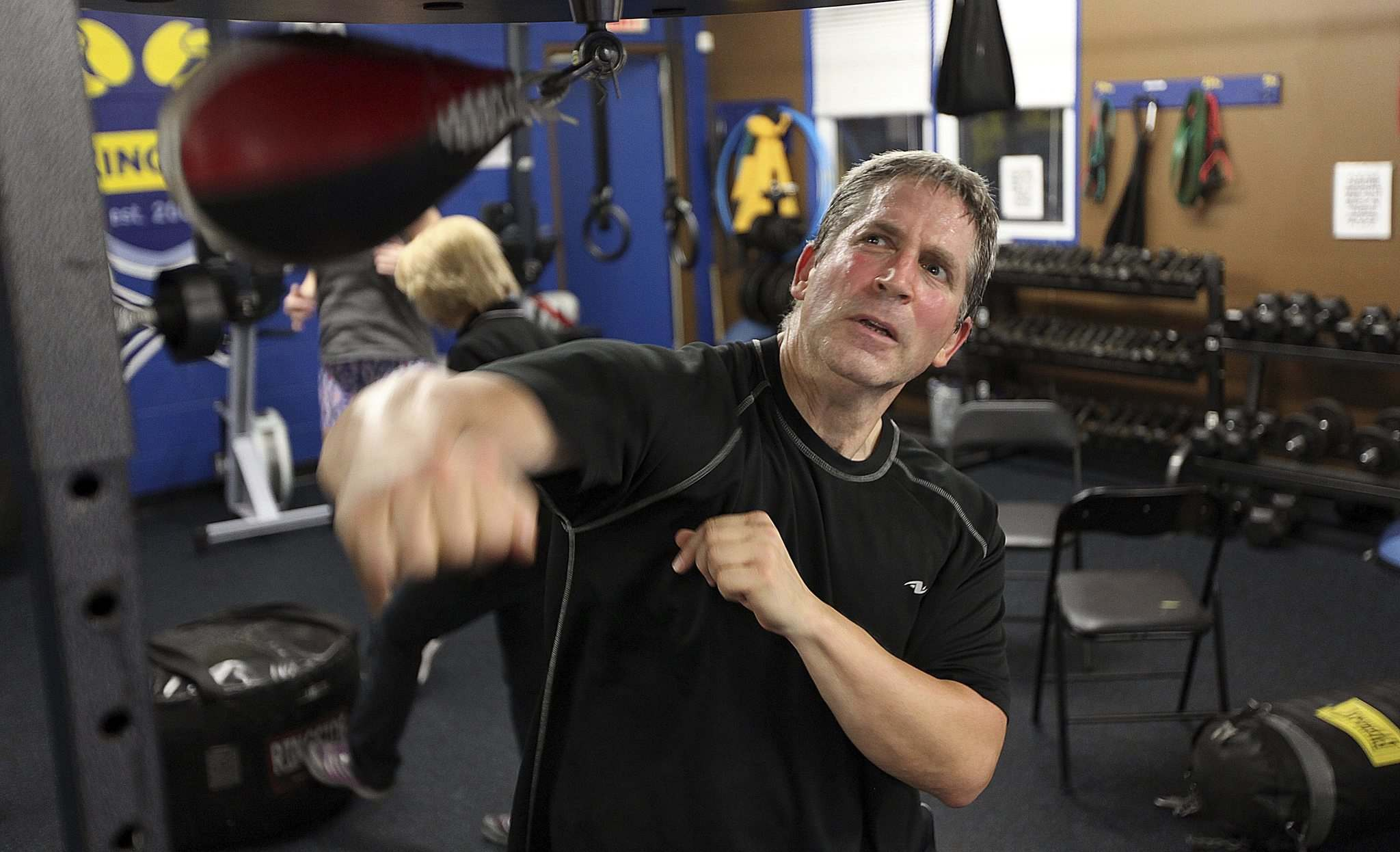 PHIL HOSSACK / WINNIPEG FREE PRESS</p><p>Syd Weidman works the speed bag during a workout.</p>