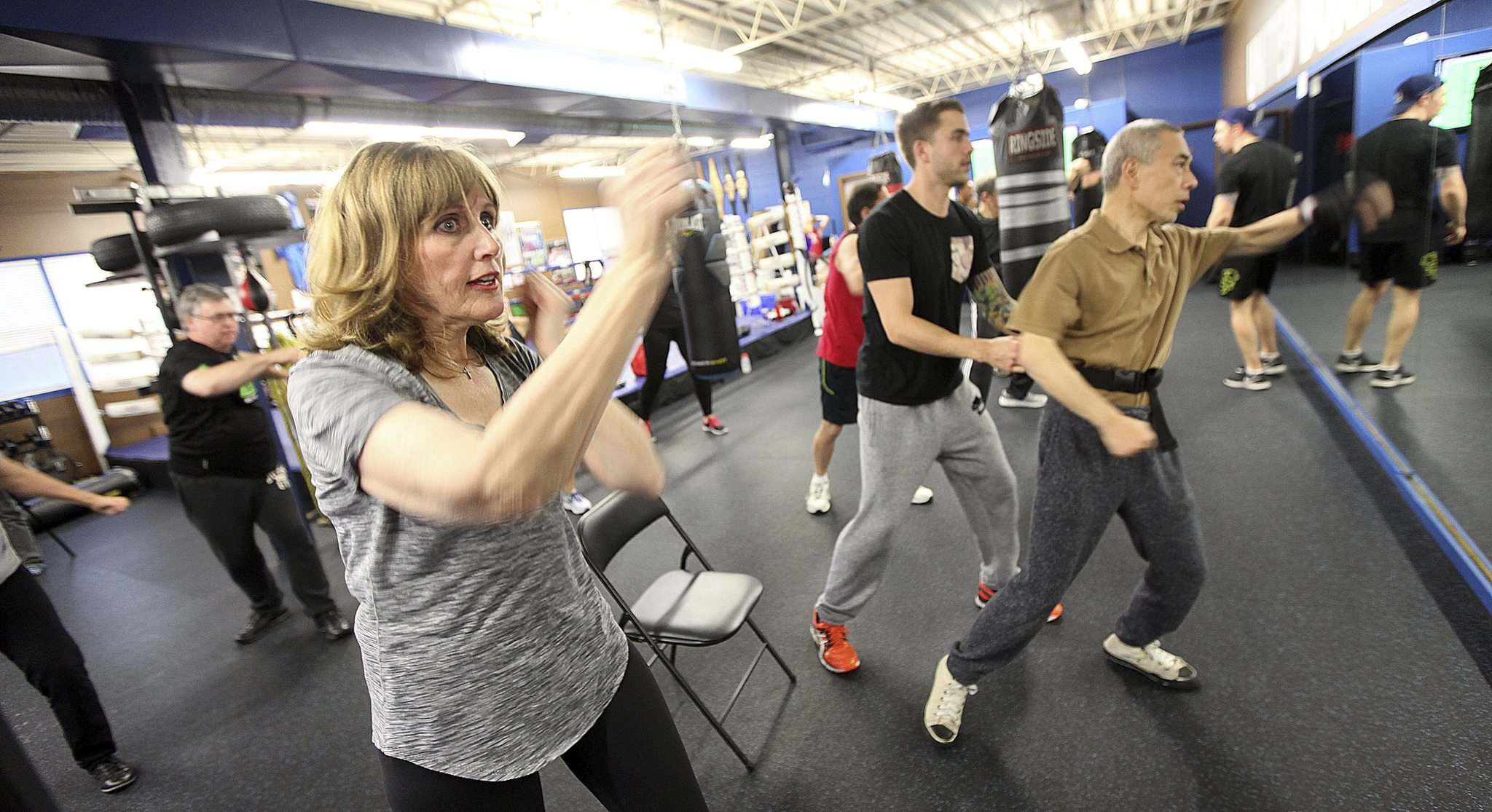 PHIL HOSSACK / WINNIPEG FREE PRESS</p><p>Francine Lee throws punches during a workout for &#34;Counter Punch&#34; a boxing program for Parkinson&#39;s patients.</p>