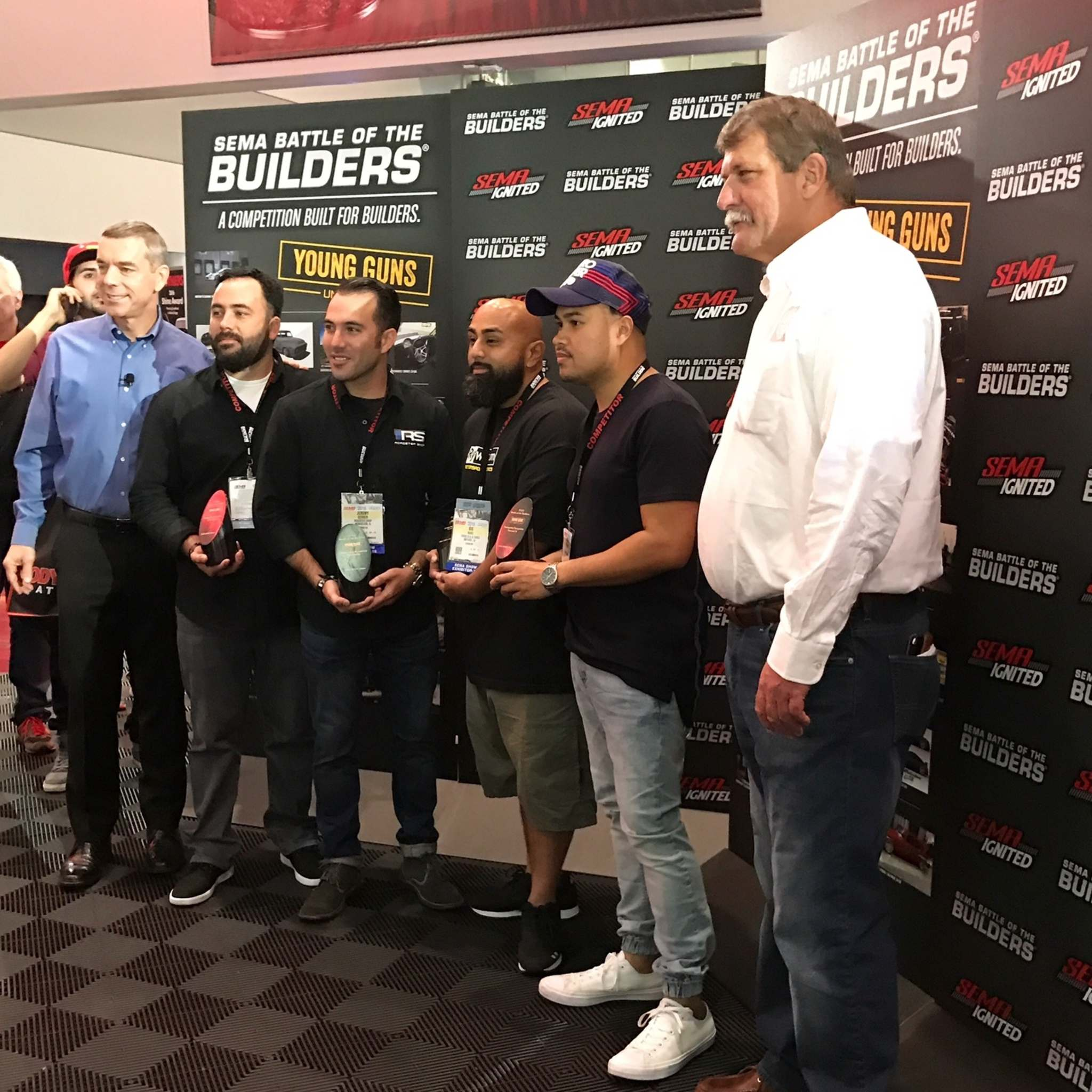SUPPLIEDAnthony De Guzman (in blue hat) was the only Canadian to win an award at SEMA this year.