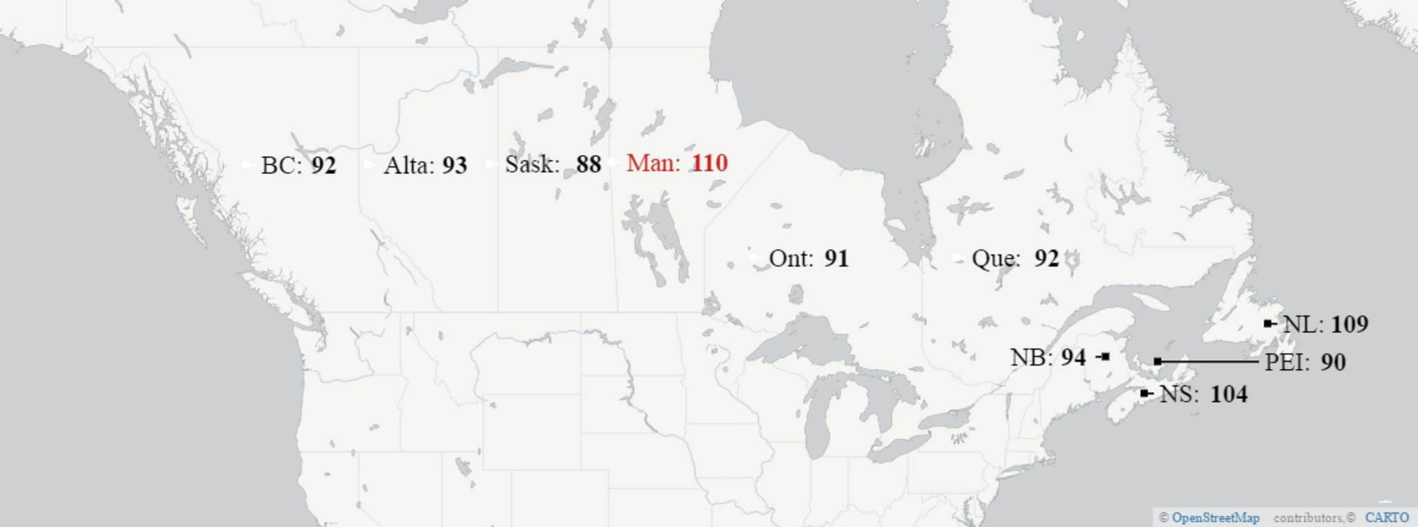 The &#39;hospital standardized mortality ratio&#39; of each province in Canada. The ratio average was set at 100 in 2012&#8211;2013 based on data collected from Canadian hospitals. It&#39;s calculated by dividing the number of actual deaths by the number of expected deaths and multiplied by 100.</p>