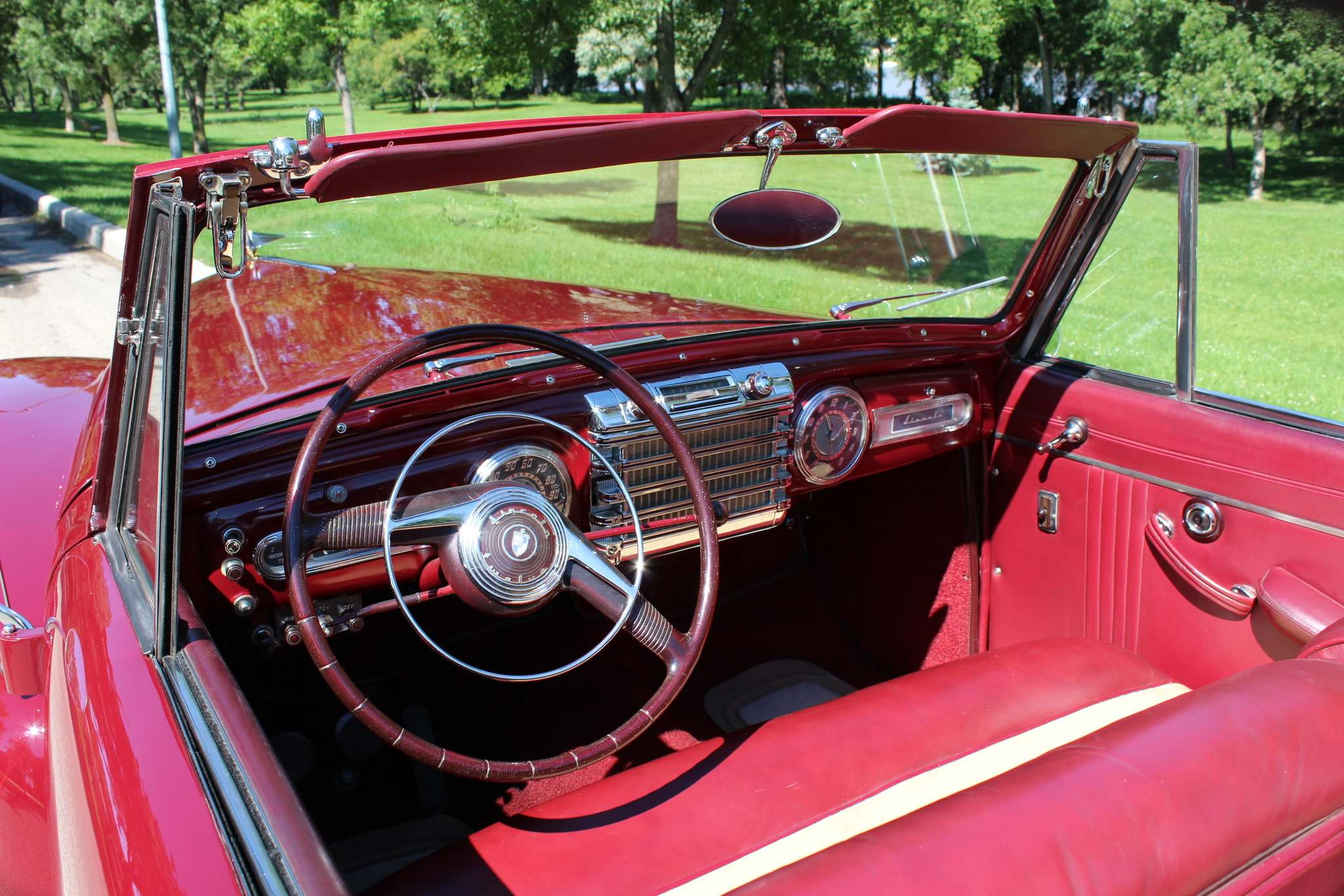 Photos by Larry D'Argis / Winnipeg Free PressThe interior upholstery of the 1946 Continental was redone in Maroon & Beige leather with a new convertible boot cover and seatbelts.