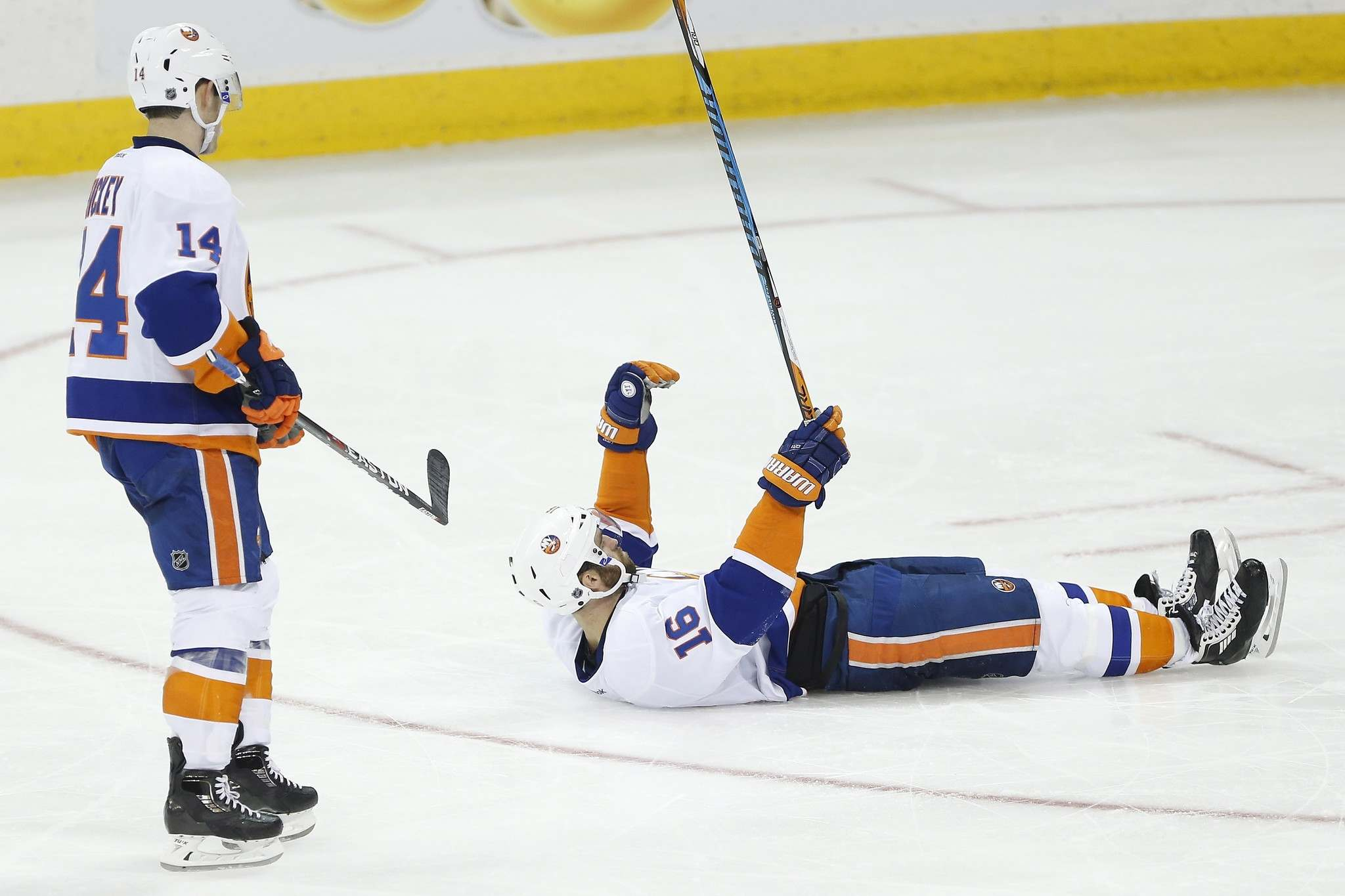 JOHN WOODS / THE CANADIAN PRESS</p><p>New York Islanders' Andrew Ladd (16) celebrates his goal against the Winnipeg Jets as Thomas Hickey (14) looks on during the third period.</p>