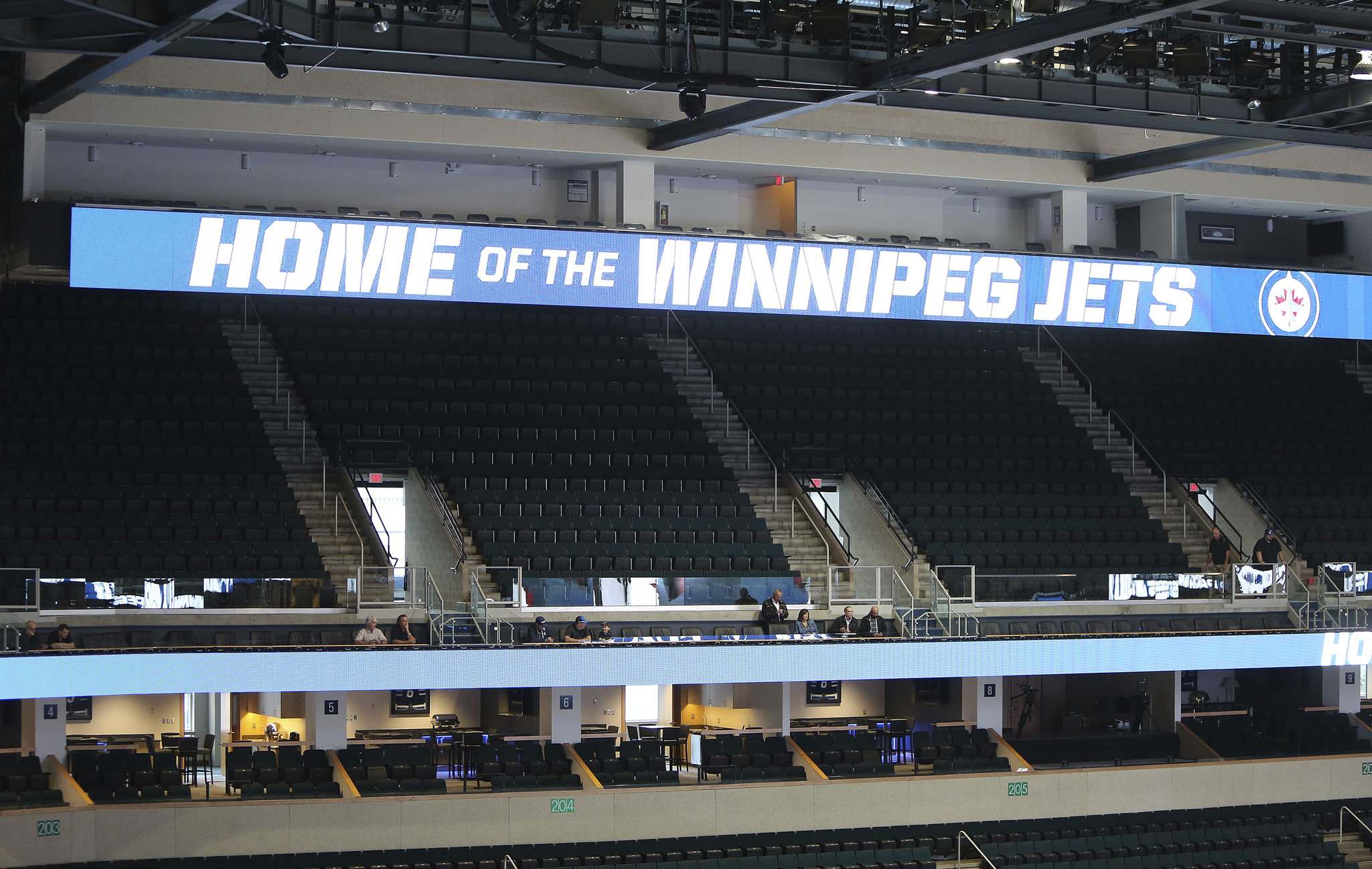 JASON HALSTEAD / WINNIPEG FREE PRESS FILES</p><p>Will critical reporters be moved outside the press box (seen above digital sign) at the MTS Centre? </p>