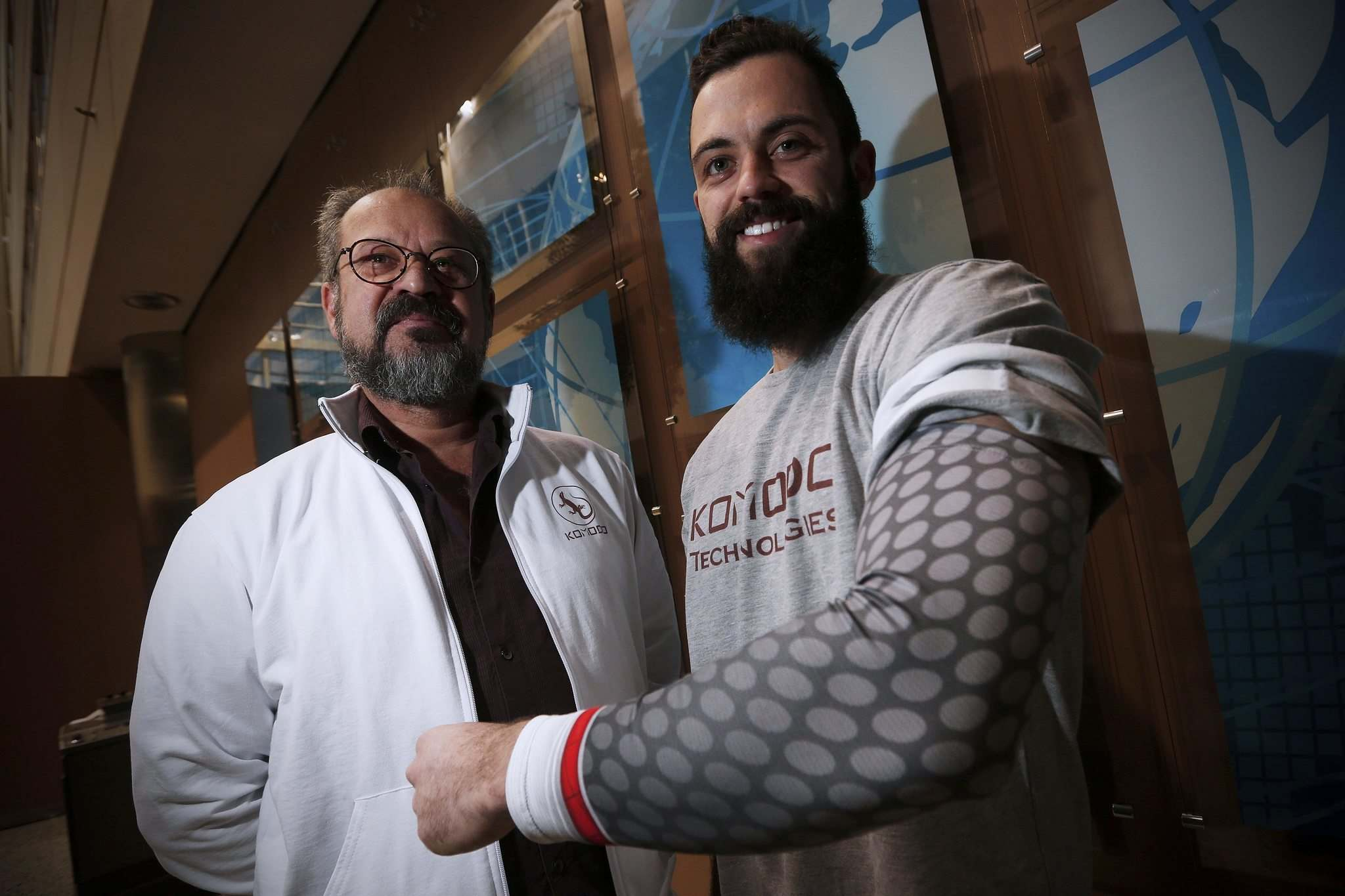 JOHN WOODS / WINNIPEG FREE PRESS</p><p>Larry (left) and Elvis Goren, of Winnipeg company Komodo Technologies, will be in Las Vegas for the Consumer Electronics Show where they will be promoting the compression sleeve they developed that interfaces with fitness devices.</p>