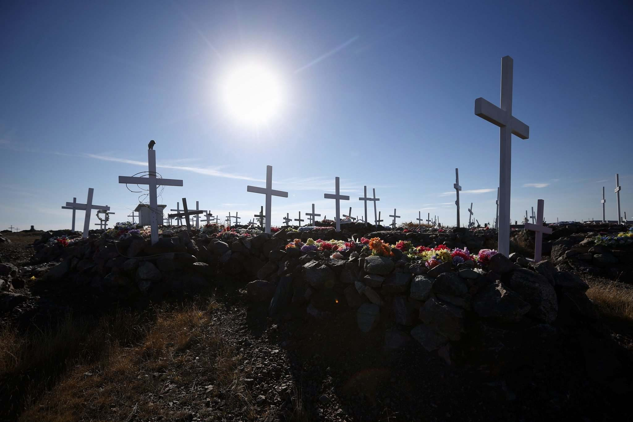 JOHN WOODS / WINNIPEG FREE PRESS</p><p>Because of the permafrost, gravesites in Baker Lake&rsquo;s cemetery are above ground, and the rocks and wooden boxes don&rsquo;t always conceal the departed forever.</p>