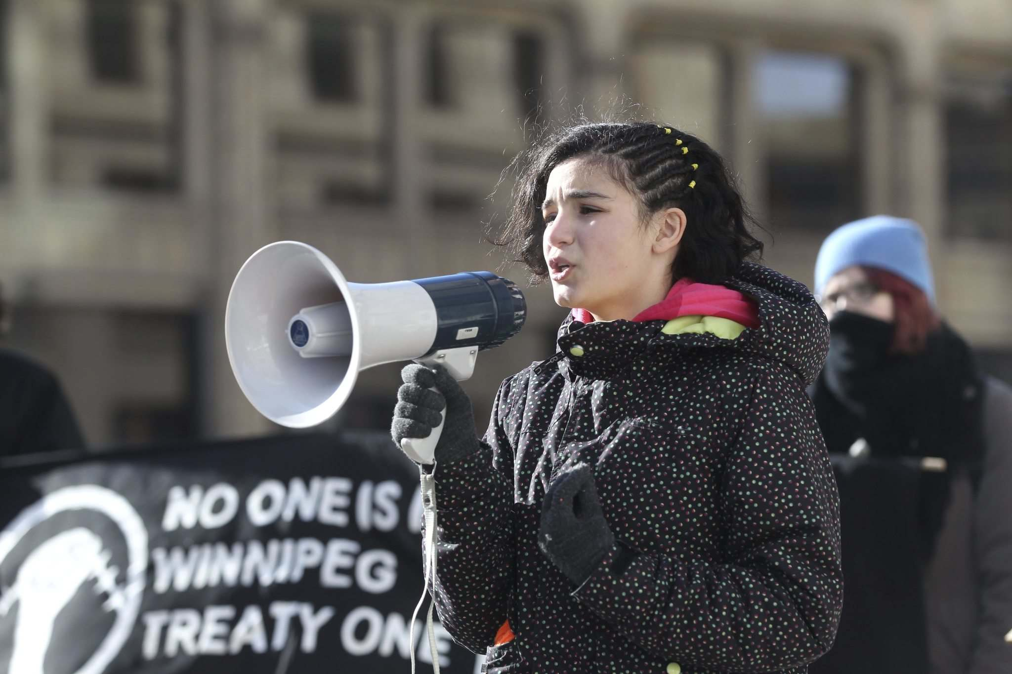 <p>Leen speaks out at rally to call on Mayor Brian Bowman to make Winnipeg a sanctuary city for undocumented migrants Friday. </p>