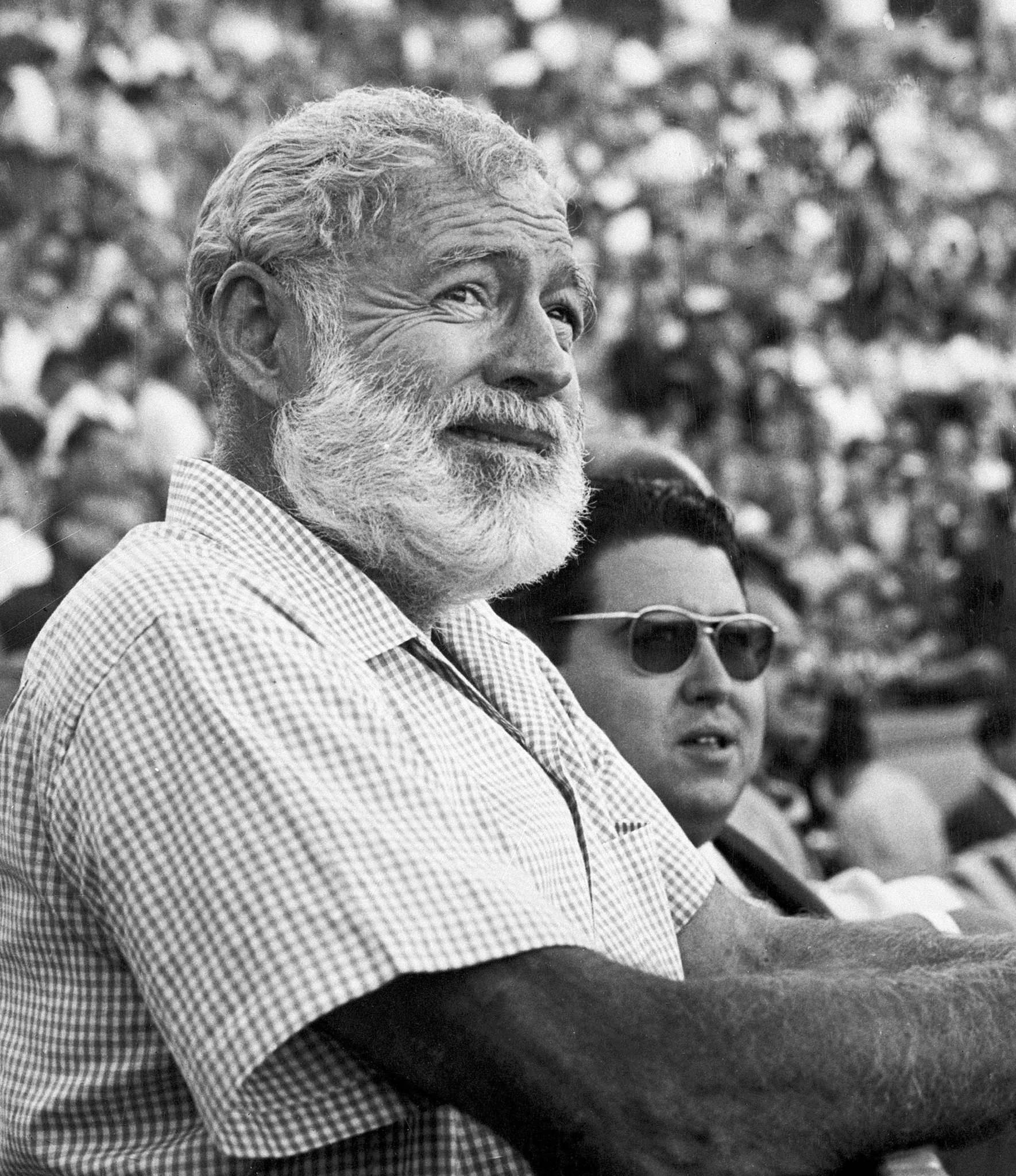 The CIA spied on leftist writers such as Ernest Hemingway (above) and James Baldwin (top).</p>