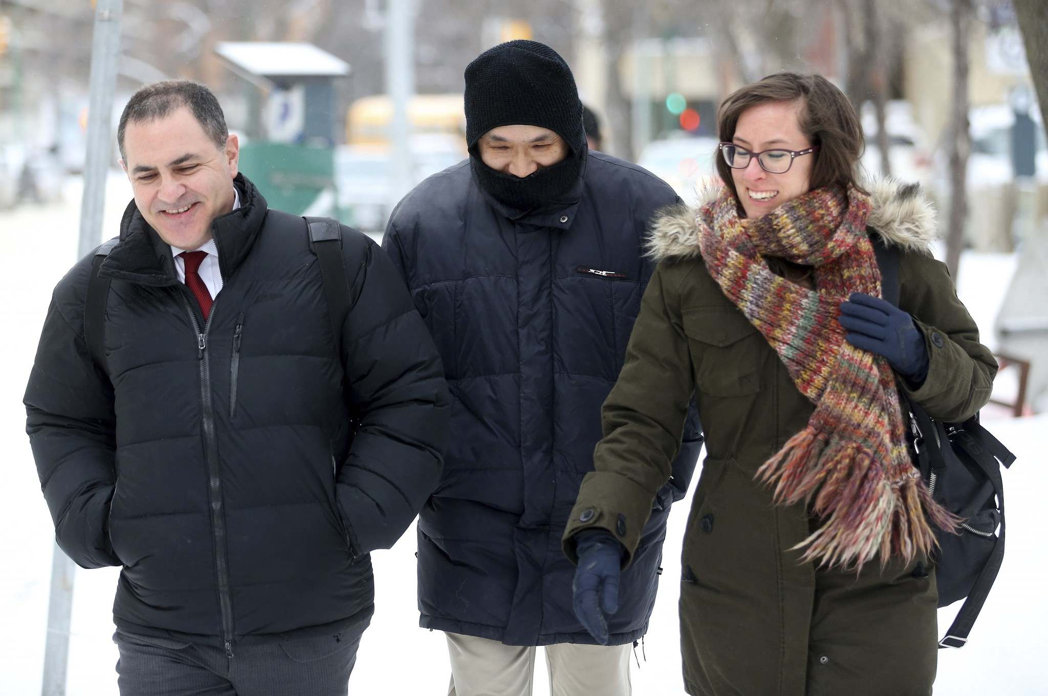 WAYNE GLOWACKI / WINNIPEG FREE PRESS</p><p>Will Baker, formerly known as Vince Li, leaves the Law Courts building in Winnipeg, after his annual criminal code review board hearing with his lawyer Alan Libman, left, Monday.</p>