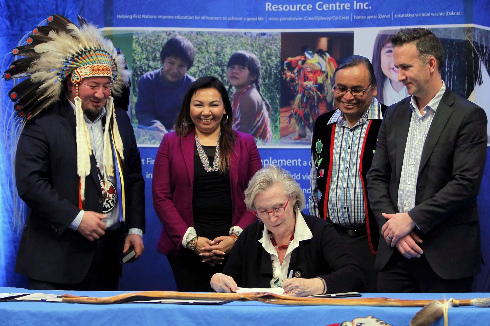 BORIS MINKEVICH / WINNIPEG FREE PRESS</p><p>Manitoba First Nations School System Education Governance Agreement Signing Ceremony at the Victoria Inn & Conference Centre. Left to right: Assembly of Manitoba Chiefs Grand Chief Derek Nepinak, Manitoba Keewatinowi Okimakanak Inc. Grand Chief Sheila North Wilson, The Honourable Carolyn Bennett, Minister of Indigenous and Northern Affairs, Southern Chief's Organization Inc. Grand Chief Terrance Nelson, and federal official Derek Bradley.</p>