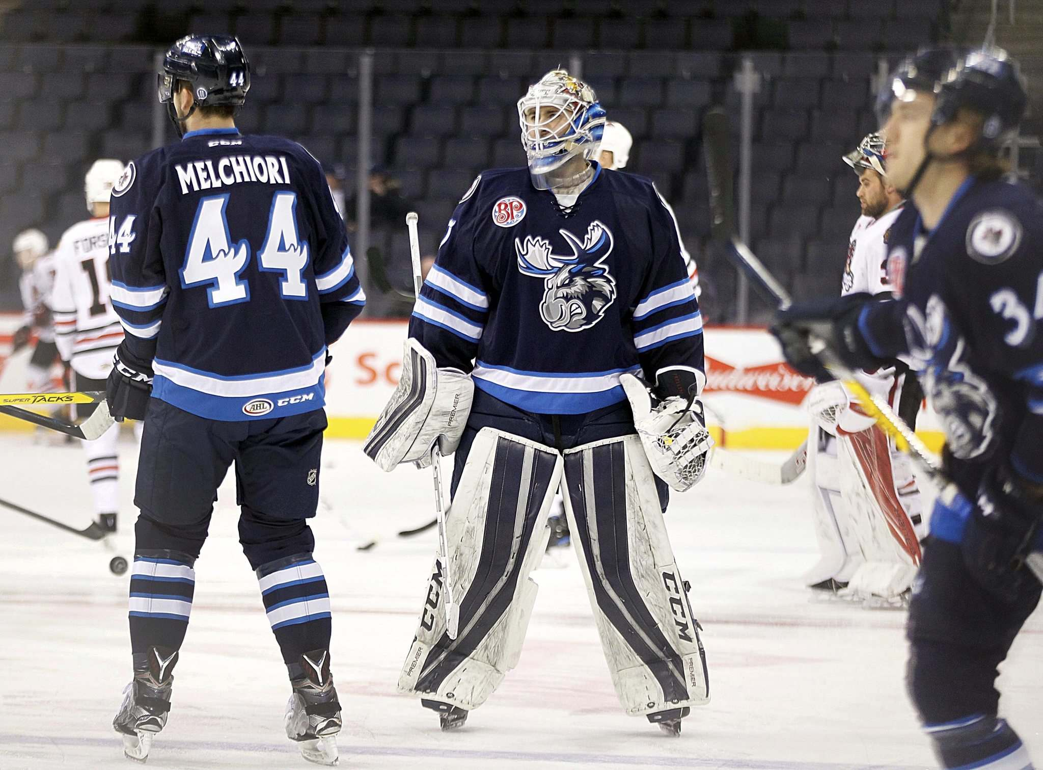 PHIL HOSSACK / WINNIPEG FREE PRESS</p><p>Manitoba Moose netminder Jamie Phillips hasn't seen much game action since being called up from the ECHL, appearing in just two games, but has put in extra time during practice to help his teammates.</p>