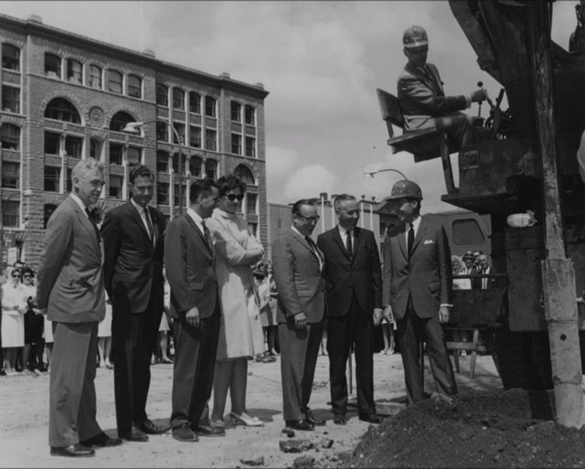 Supplied</p><p>George Richardson sits on the auger at the groundbreaking of One Lombard in Winnipeg.</p>