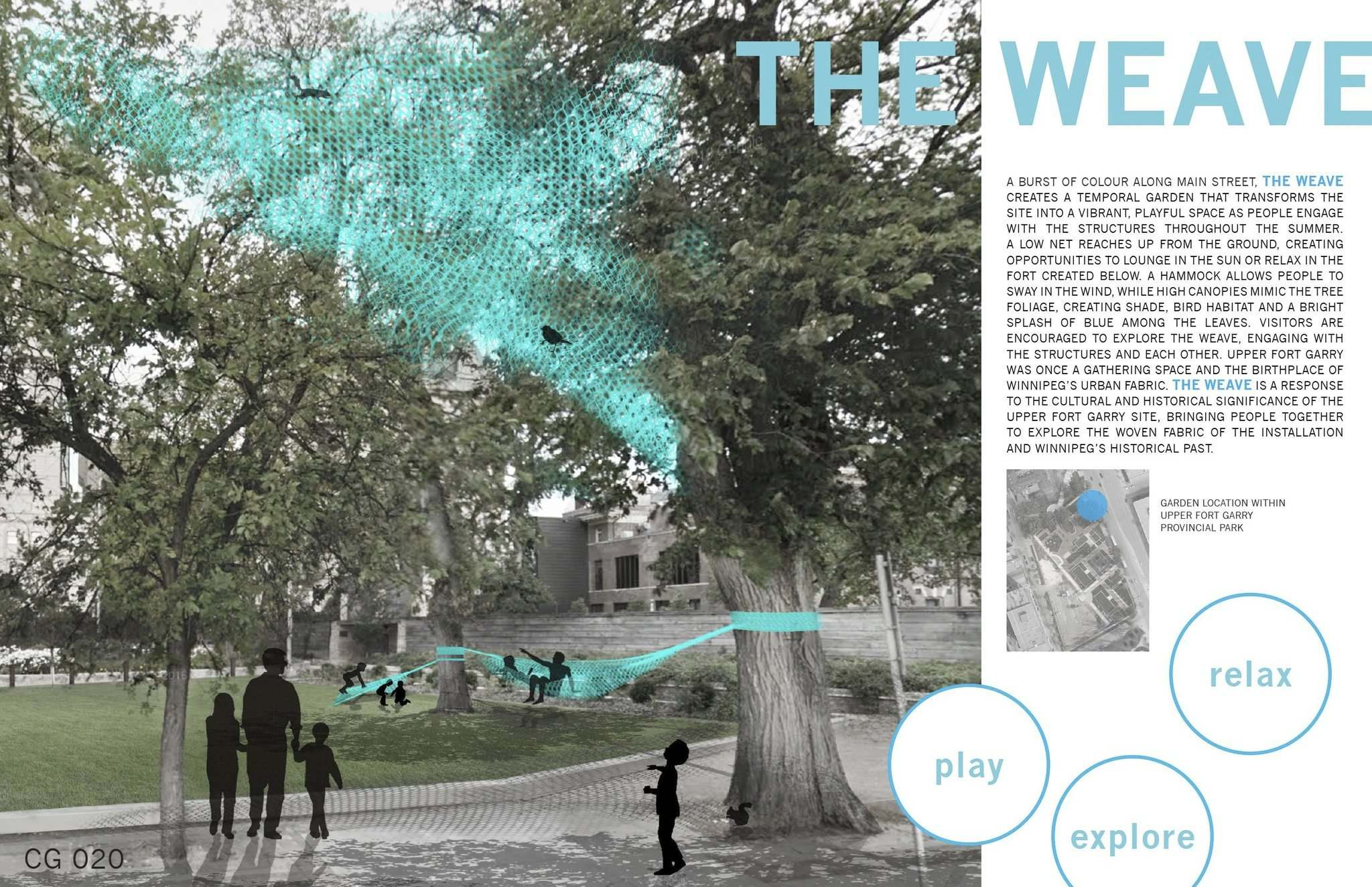 <p>The Weave, a fabric art concept created by landscape architects Rachelle Kirouac and Danielle Loeb of HTFC Planning and Design, will be installed through part of the Upper Fort Garry park as one of the two winning entries of the fifth annual Cool Gardens competition, the warm weather version of the skating trail warming huts on the river by The Forks.</p>