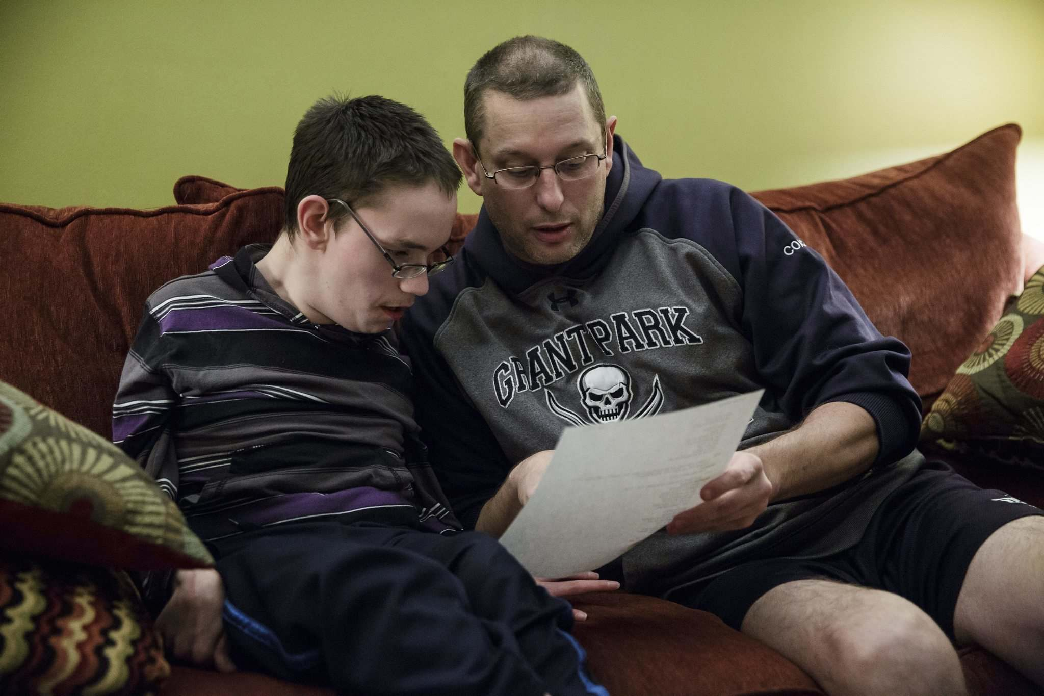 Joshua going over lines with his stepfather Rick Morris at home. Joshua plays Sebastian the Crab. (Mike Deal / Winnipeg Free Press)