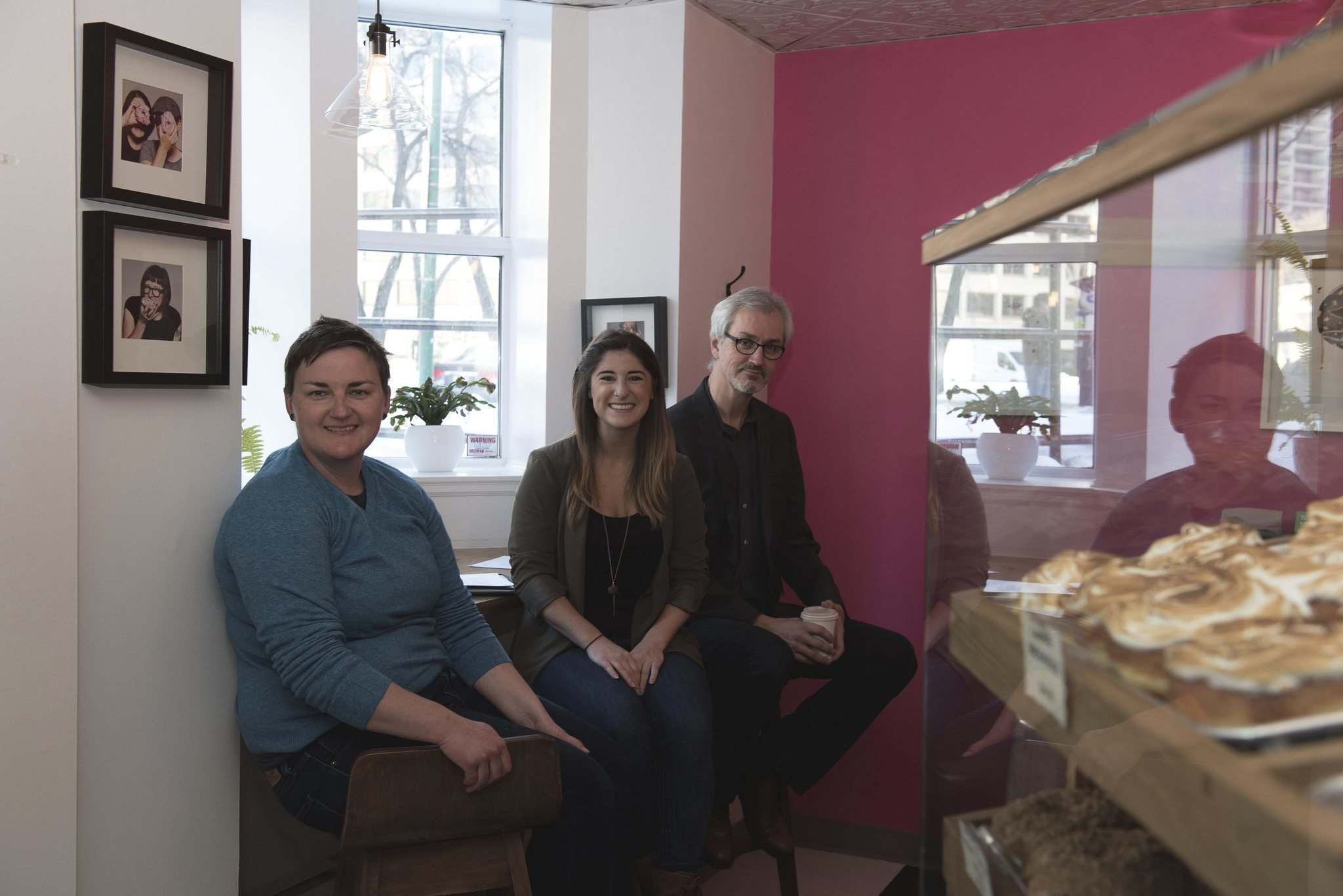 Oh Doughnuts' Amanda Kinden (from left) and HTFC's Rachelle Kirouac and glen Manning. (David Moder Photography)