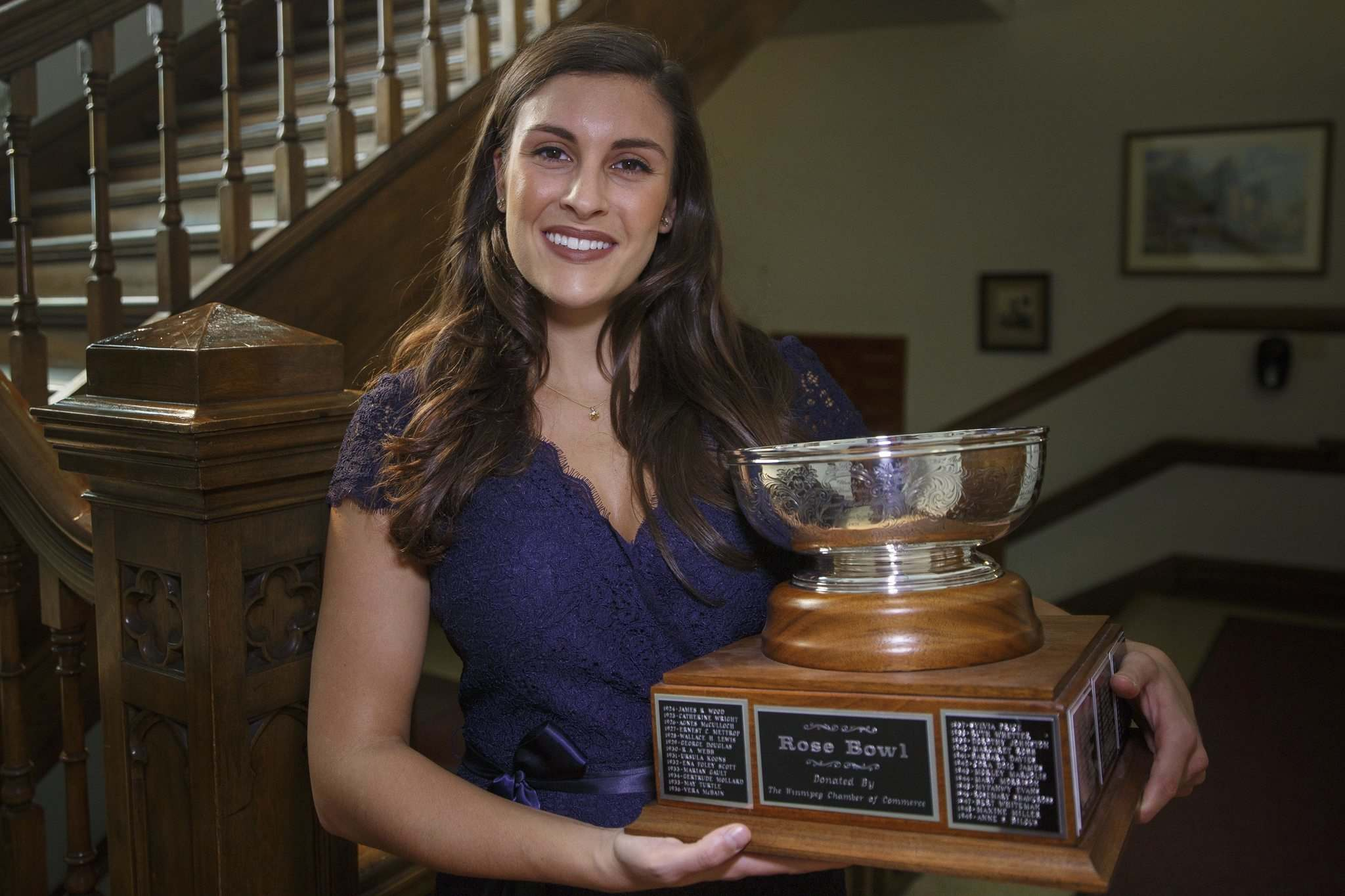 MIKE DEAL / WINNIPEG FREE PRESS</p><p>Emma Johnson holds the Rose Bowl trophy, which goes to the best vocal performance of the Winnipeg Music Festival.</p>