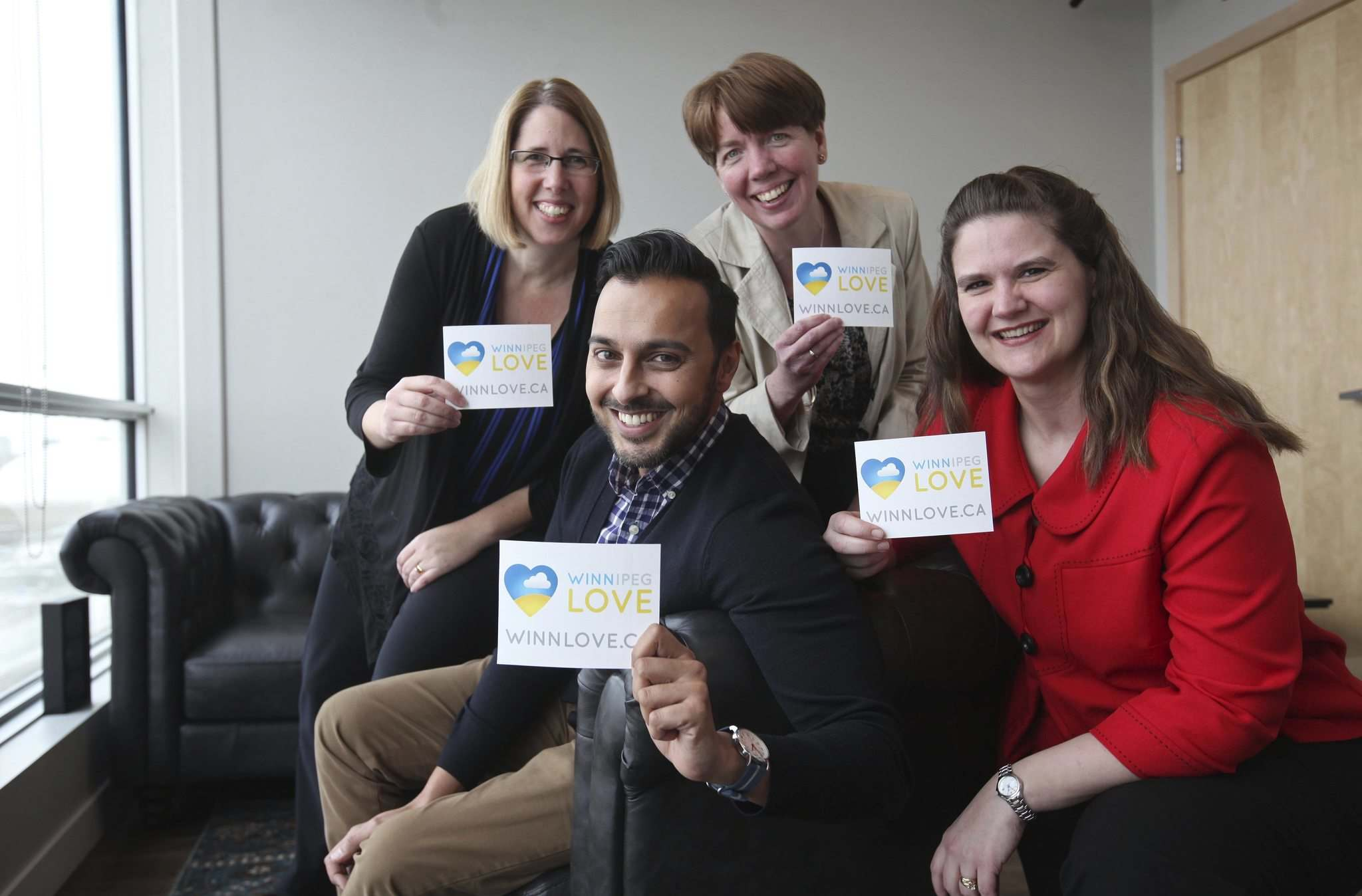 RUTH BONNEVILLE / WINNIPEG FREE PRESS</p><p>Four of the seven clinical psychologists involved with the WinnLove campaign (from left): Dr. Tiffany Lippens, Dr. Rehman Abdulrehman, Dr. Alana Grayston and Dr. Jo Unger.</p></p>