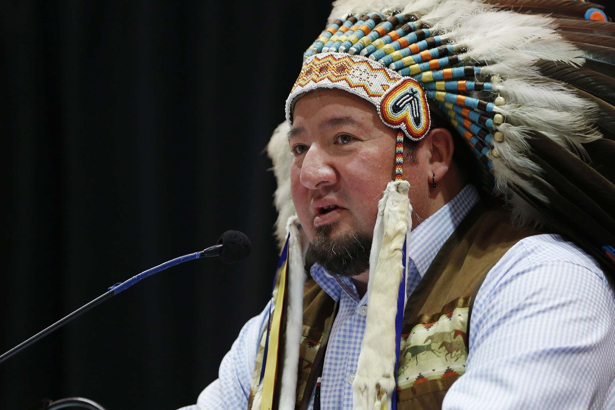 JOHN WOODS / THE CANADIAN PRESS FILES</p><p>Grand Chief Derek Nepinak speaks at a conference on climate change and the environment in Winnipeg last November. Some Manitoba chiefs took part in a ceremonial signing of the Treaty Alliance Against Tar Sands Expansion. </p>