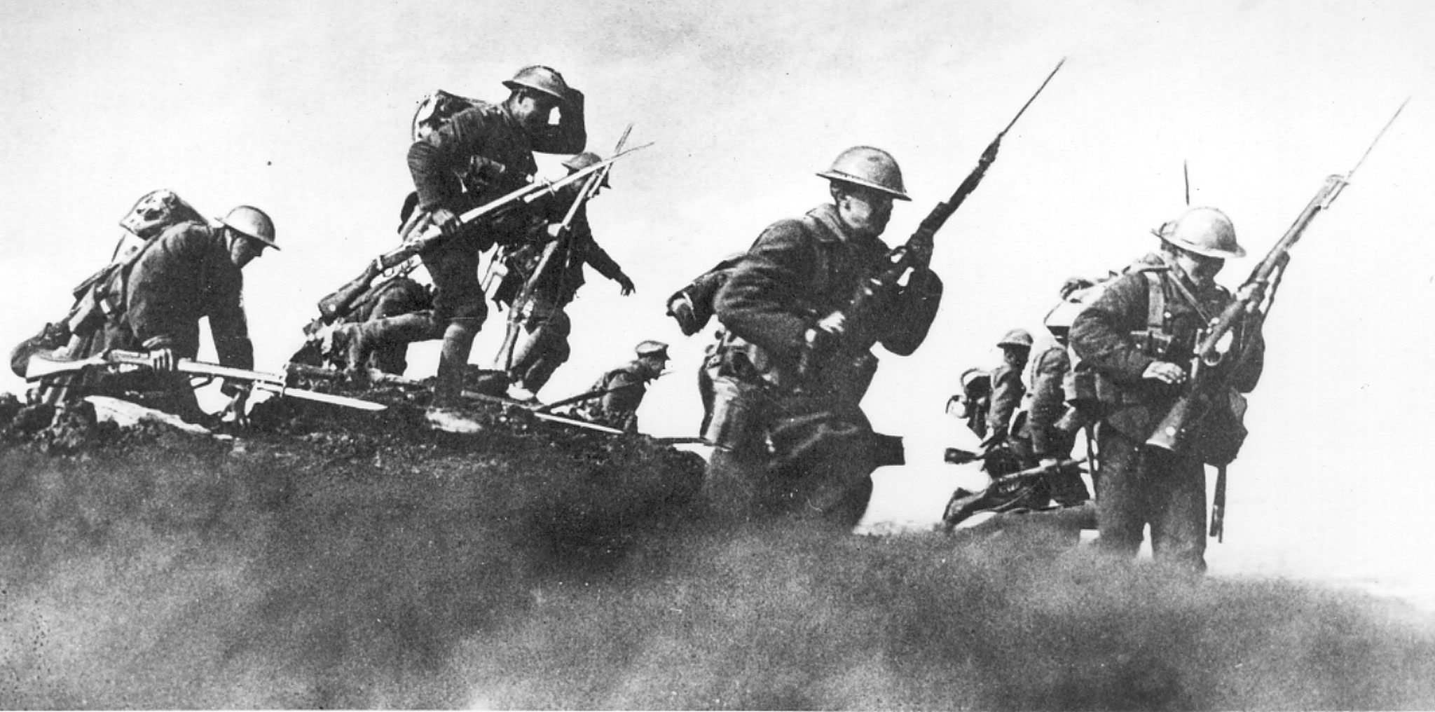 "<p>With the order of ""fix bayonets"" soldiers emerge from their trenches.</p></p>"