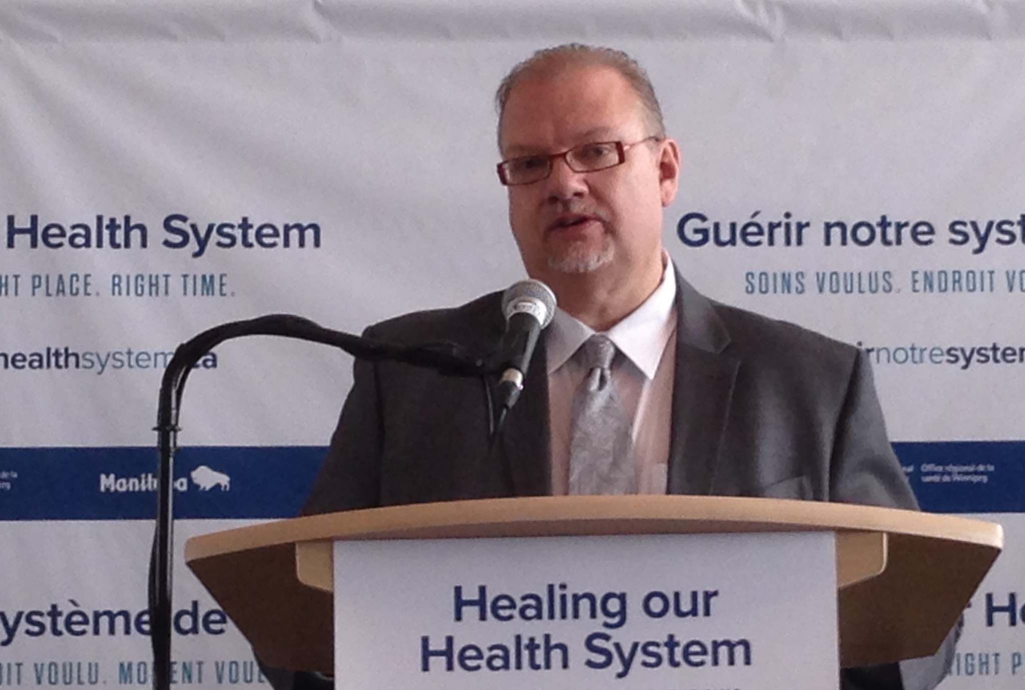 <p>Health Minister Kelvin Goertzen announces general surgery and emergency room services will be consolidated at three city hospitals.</p>