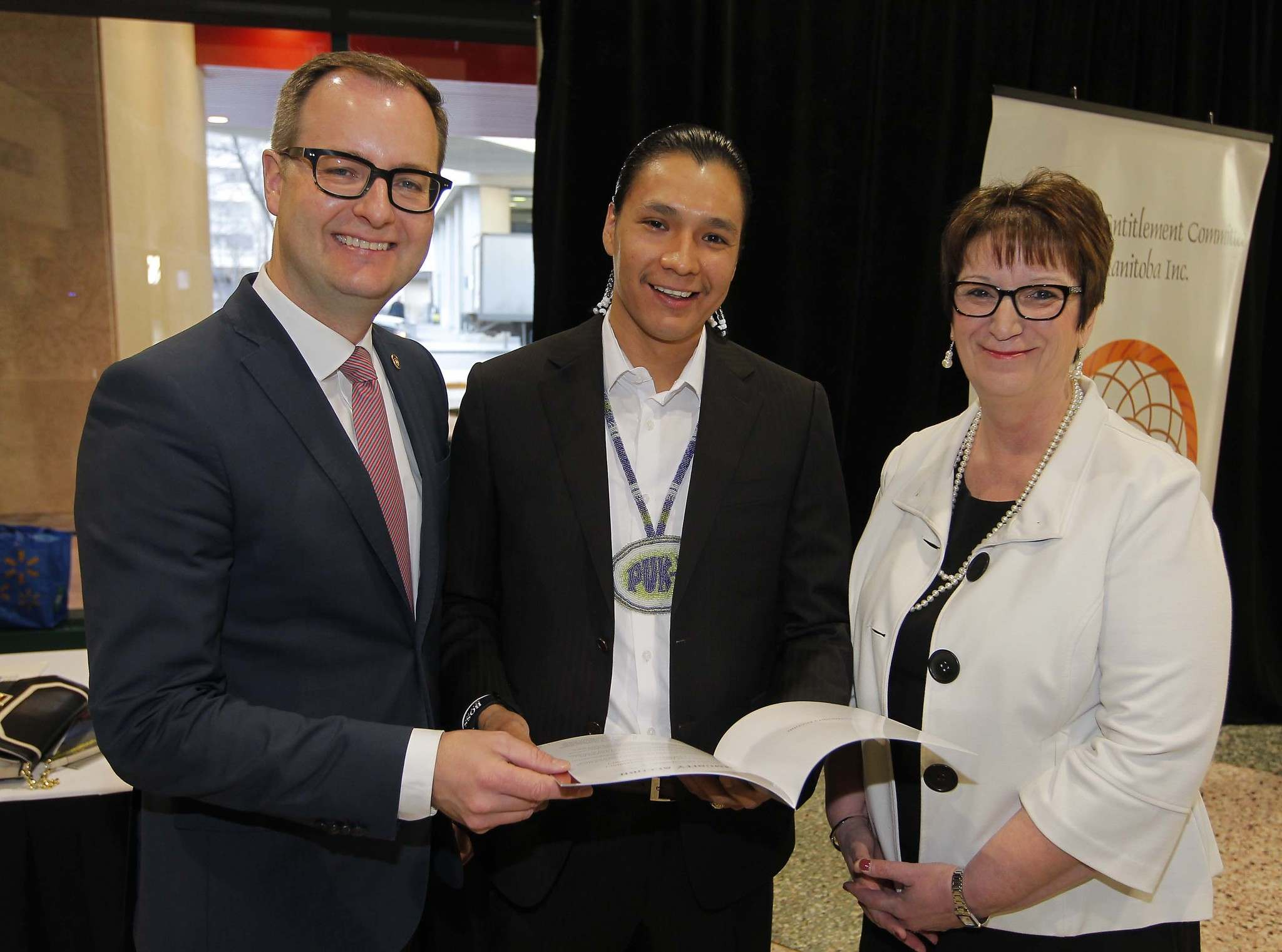 BORIS MINKEVICH / WINNIPEG FREE PRESS</p><p>Chris Goertzen (from left), Richard Dumas and Eileen Clark announce the toolkit this morning at the RBC Convention Centre.</p>