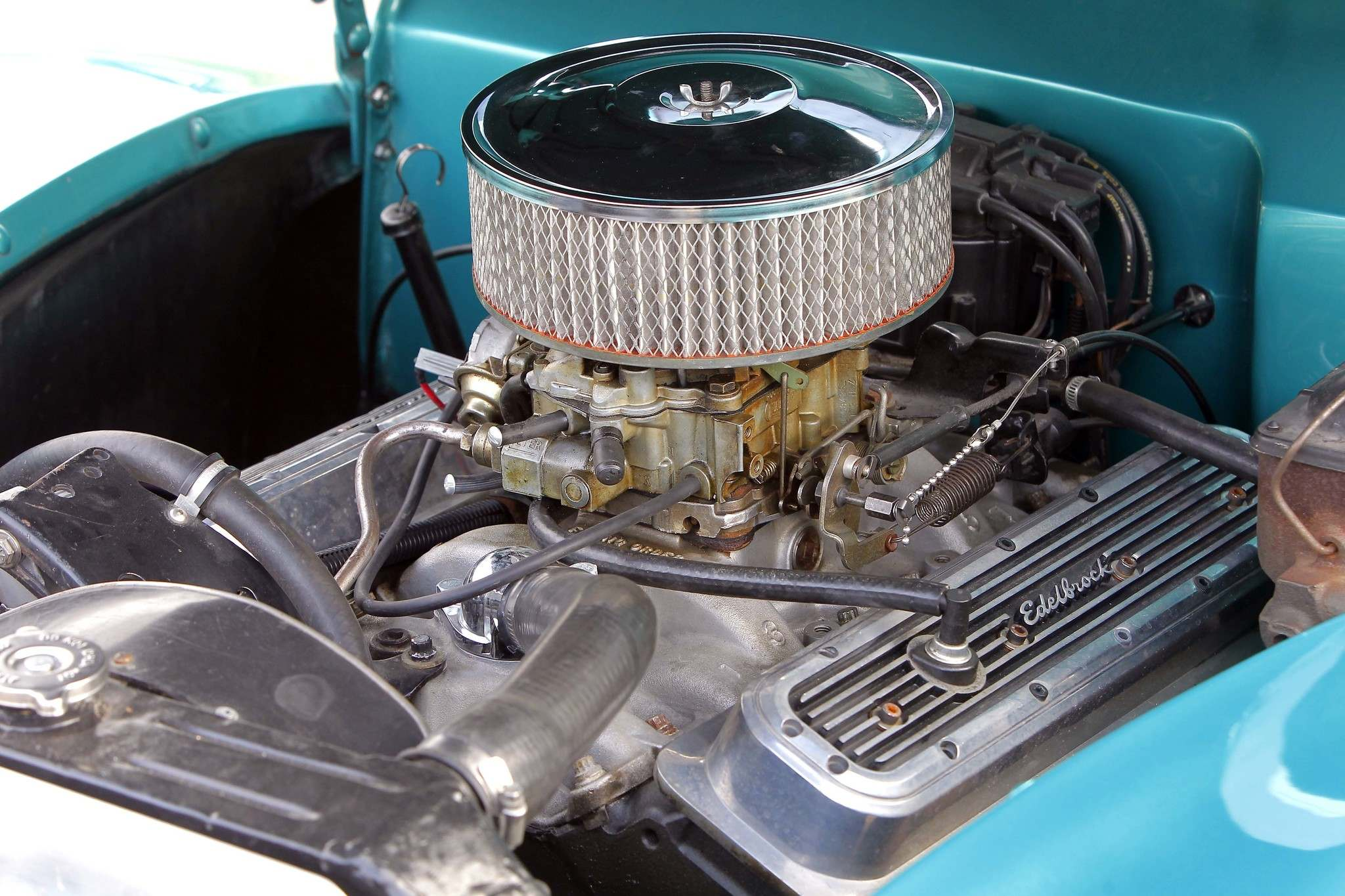 BORIS MINKEVICH / WINNIPEG FREE PRESSBetcher's Ford now has a 1974 Chevy vintage 350 bored to 355 cubic inches, with a 9.5:1 compression ratio and topped off with modern cylinder heads, aluminum intake manifold and 750 cfm Quadra-Jet four-barrel carburetor and H.E.I. ignition.