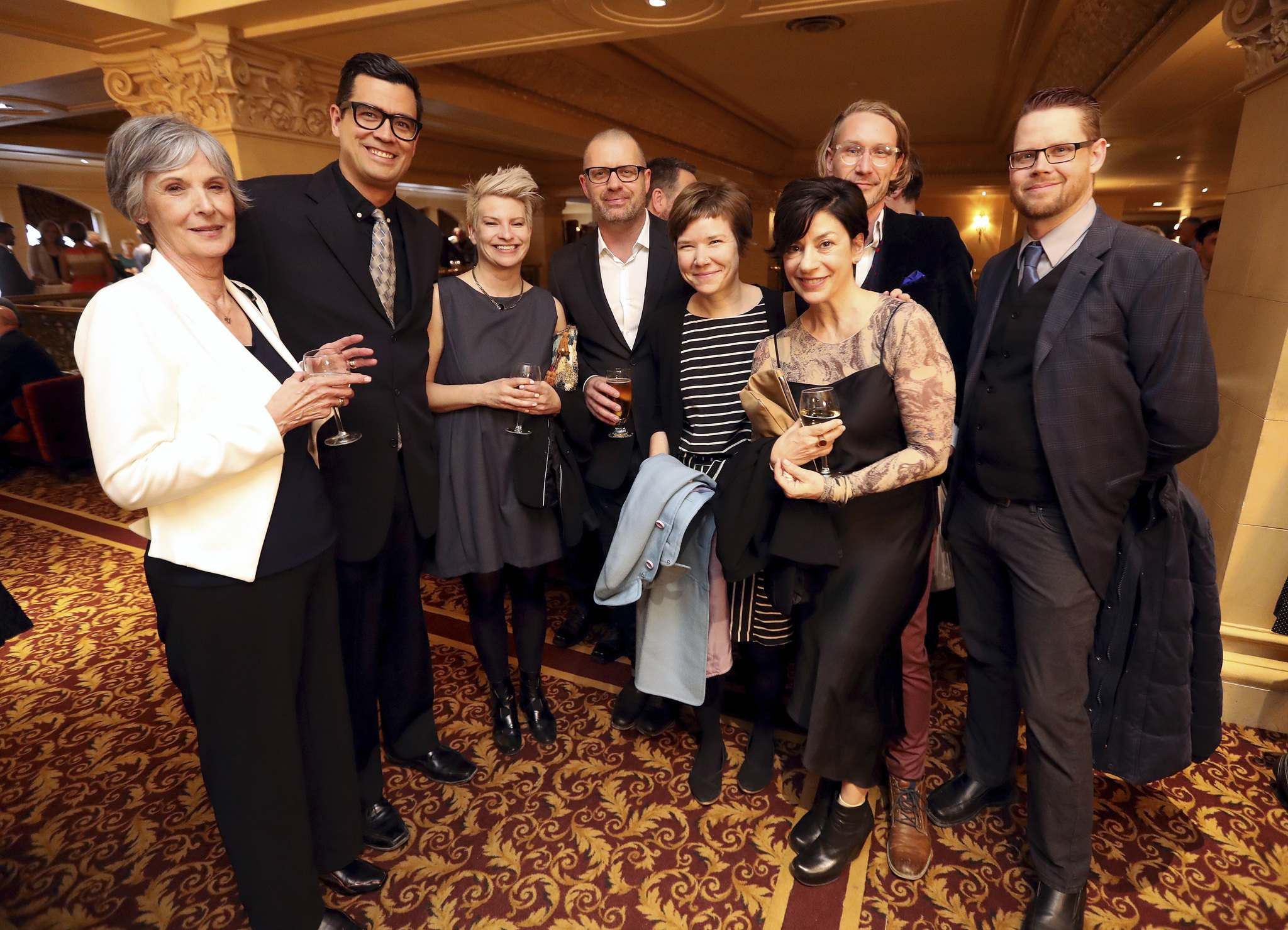 <p>David Alexander Robertson, second from left, and GMB Chomichuk, second from right, at the Manitoba Book Awards, Saturday.</p>