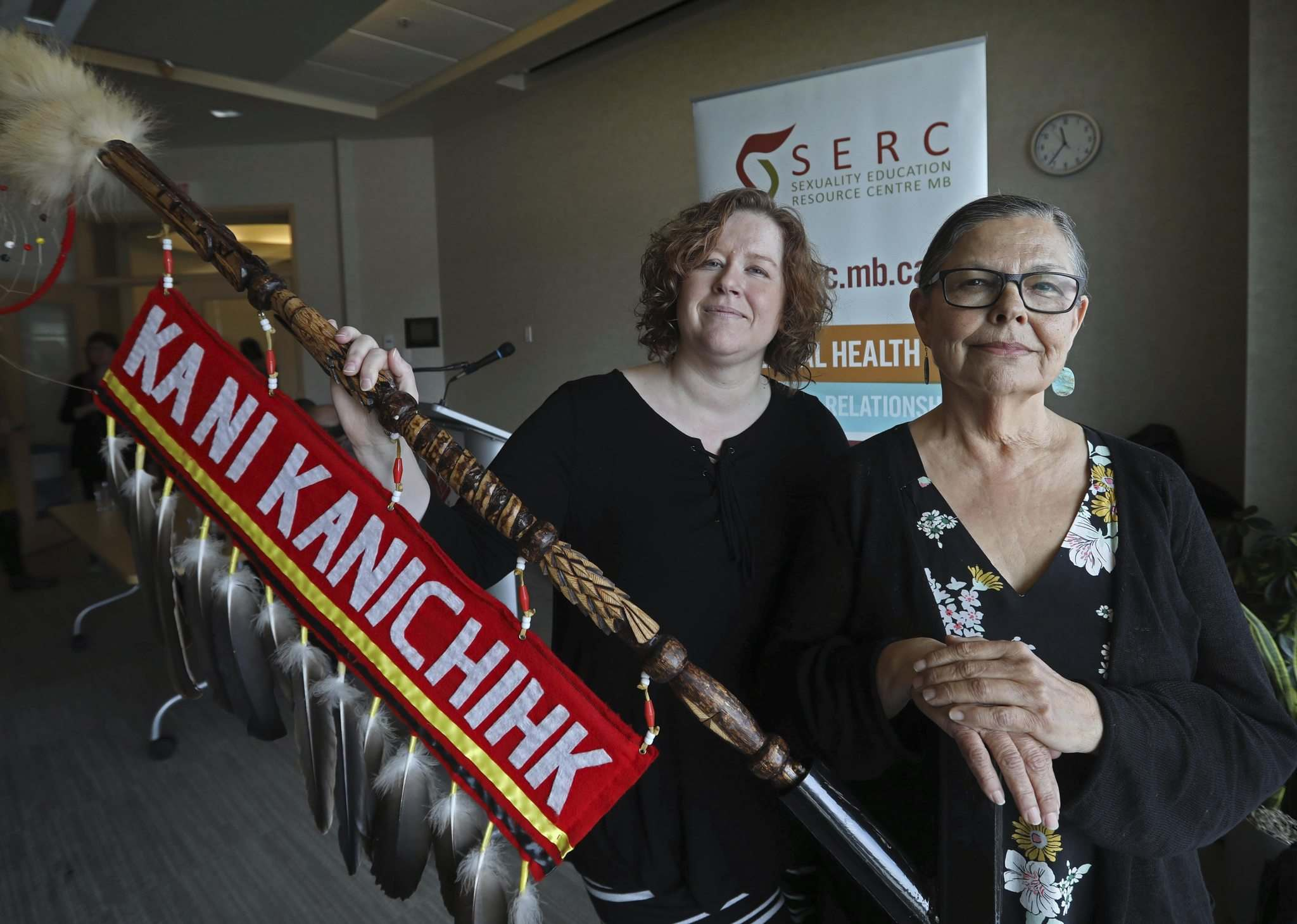 RUTH BONNEVILLE / WINNIPEG FREE PRESS</p><p>Ka Ni Kanichihk will take over the Sexuality Education Resource Centre&rsquo;s White Wolf Speaking program after the groups&rsquo; respective executive directors, Nicole Chammartin (left) and Leslie Spillett, sought to put reconciliation into action.</p>