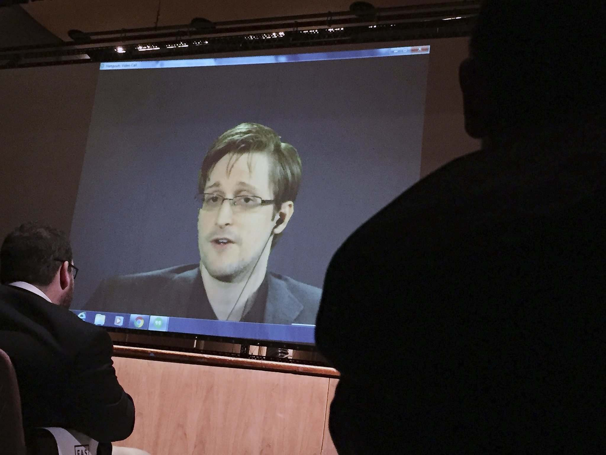 JULIET LINDERMAN / THE ASSOCIATED PRESS FILES</p><p>Former U.S. National Security Agency contractor Edward Snowden speaks via video conference to people in the Johns Hopkins University auditorium in 2016.</p>