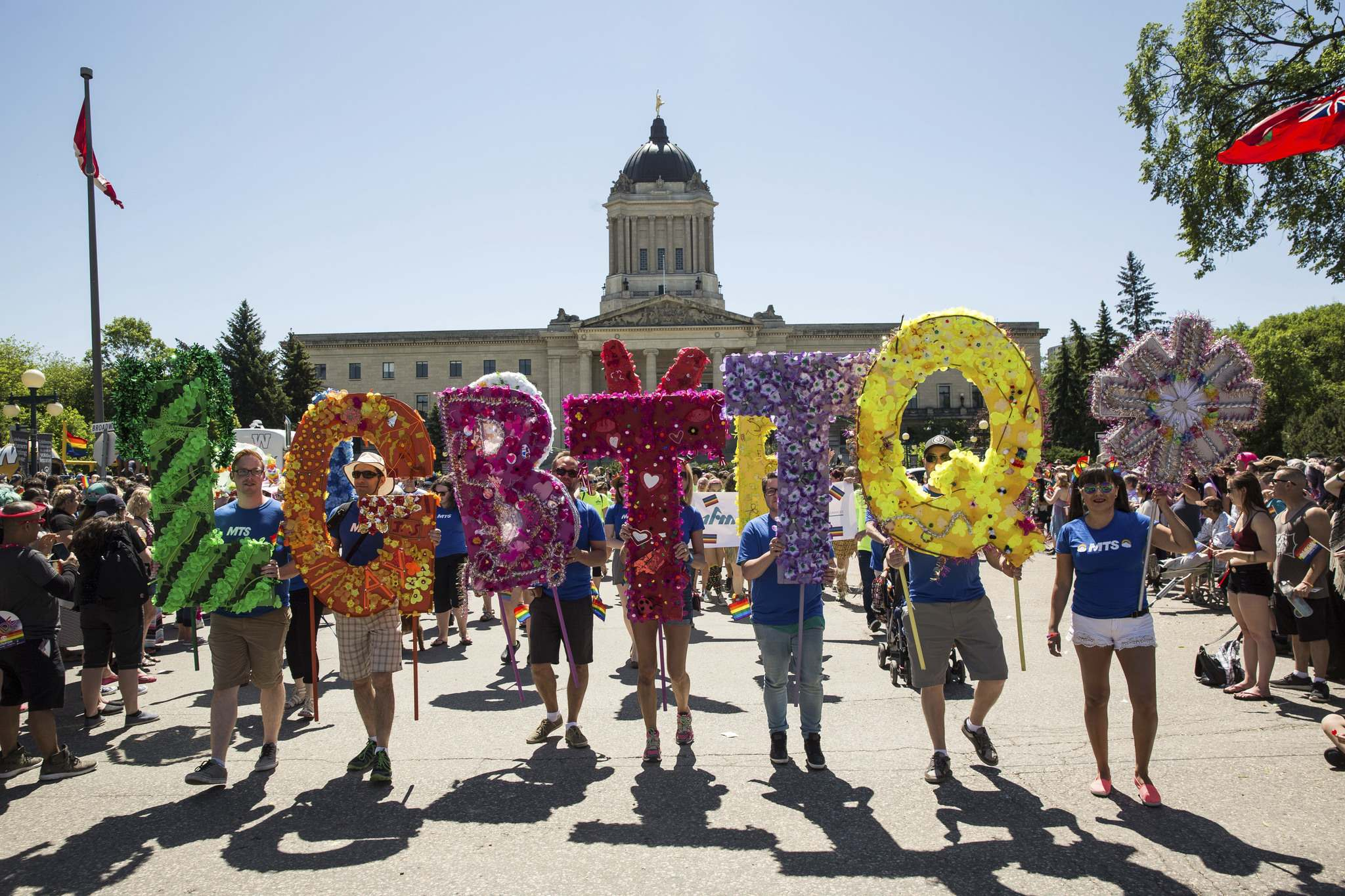 Participants in the 2016 Pride parade. (Mike Deal / Winnipeg Free Press files)</p>