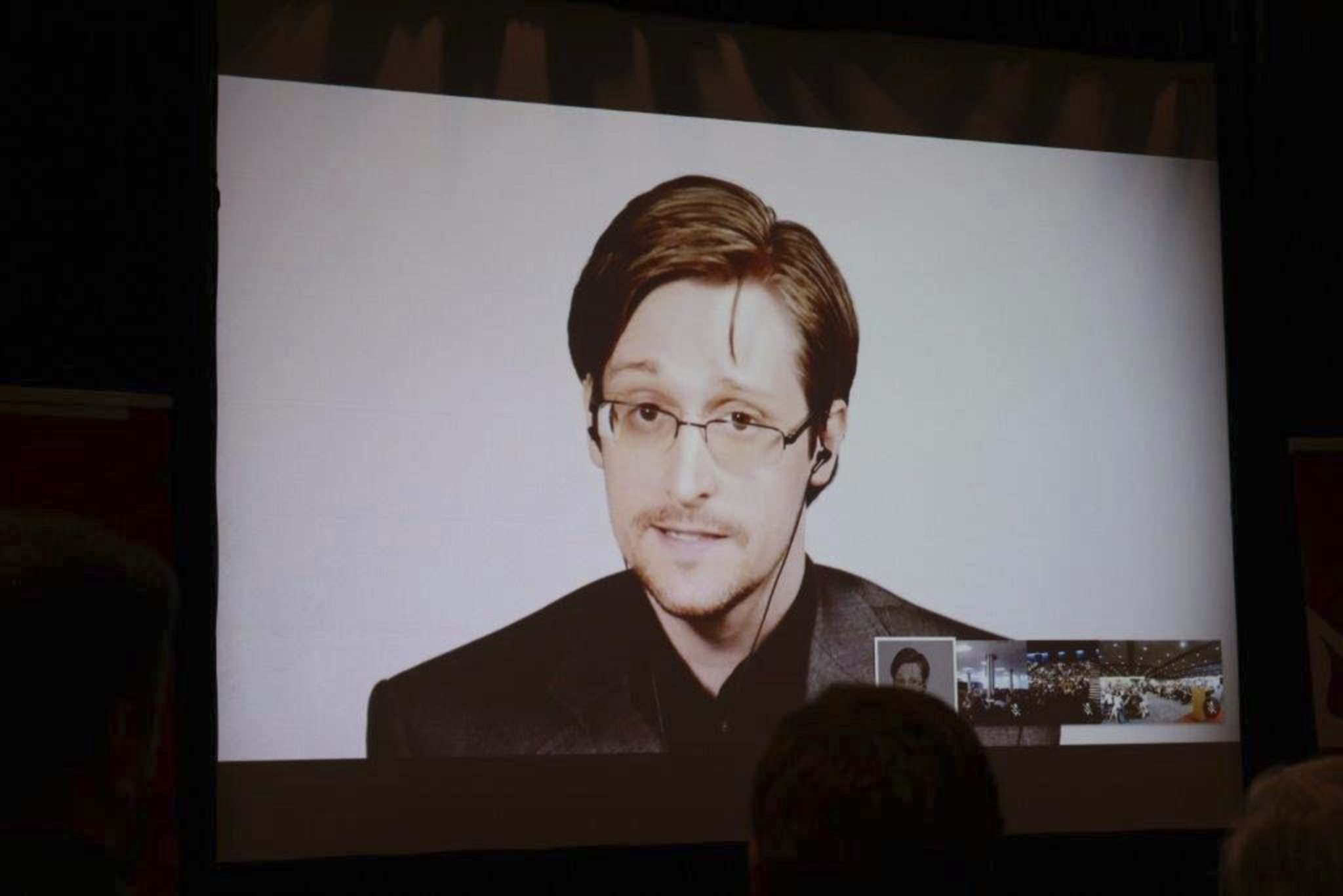 Edward Snowden speaks via video link to audiences at the universities of Winnipeg, Brandon and Lethbridge on Tuesday.