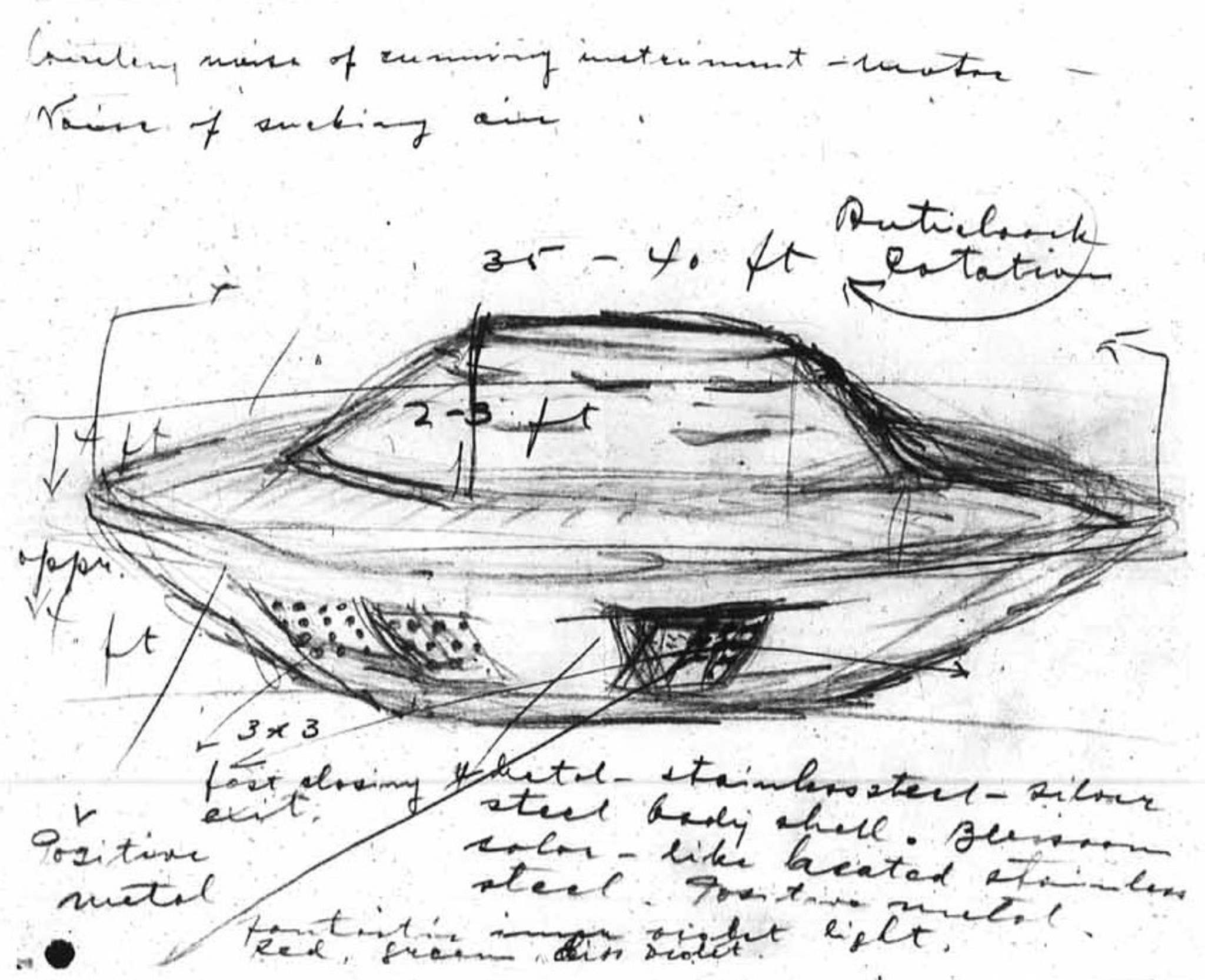 Sketch made by Stefan Michalak after witnessing an unidentified flying object in 1967. It&rsquo;s now widely known as the Falcon Lake Incident.</p></p>