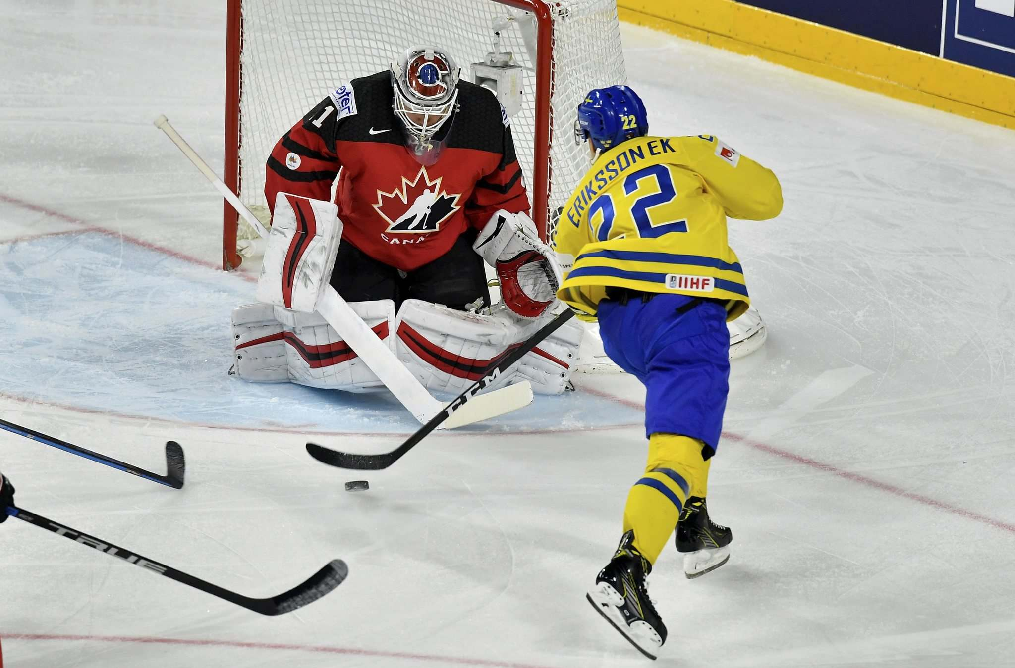 Martin Meissner / The Associated Press</p><p>Canada's Calvin Pickard blocks a shot by Sweden's Joel Eriksson Ek, right, at the Ice Hockey World Championships final match between Canada and Sweden in the LANXESS arena in Cologne, Germany, Sunday, May 21, 2017.</p>