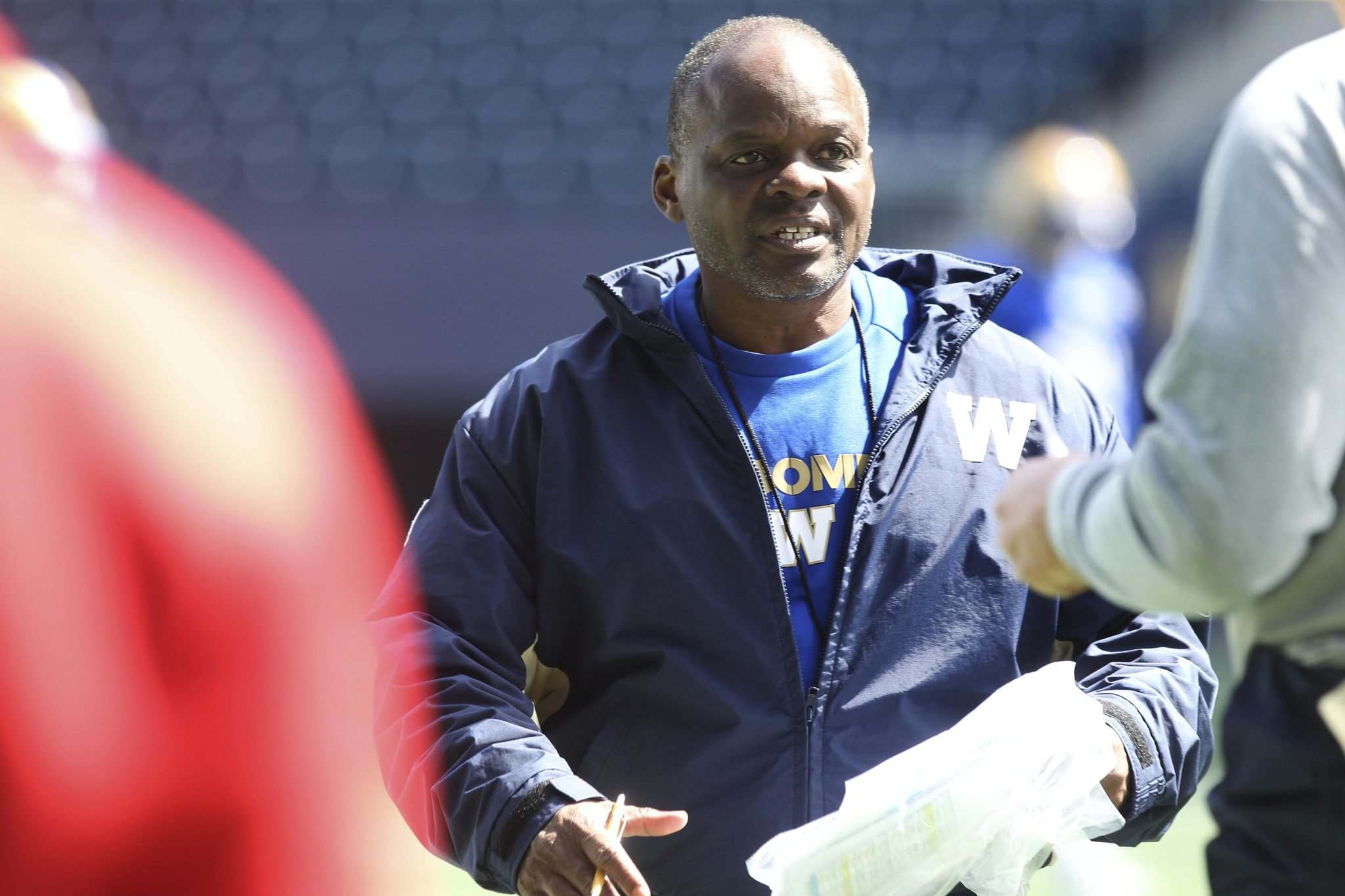 RUTH BONNEVILLE / WINNIPEG FREE PRESS</p><p>Winnipeg Blue Bomber defensive coordinator Richie Hall likes the players he has to work with on the team.</p>