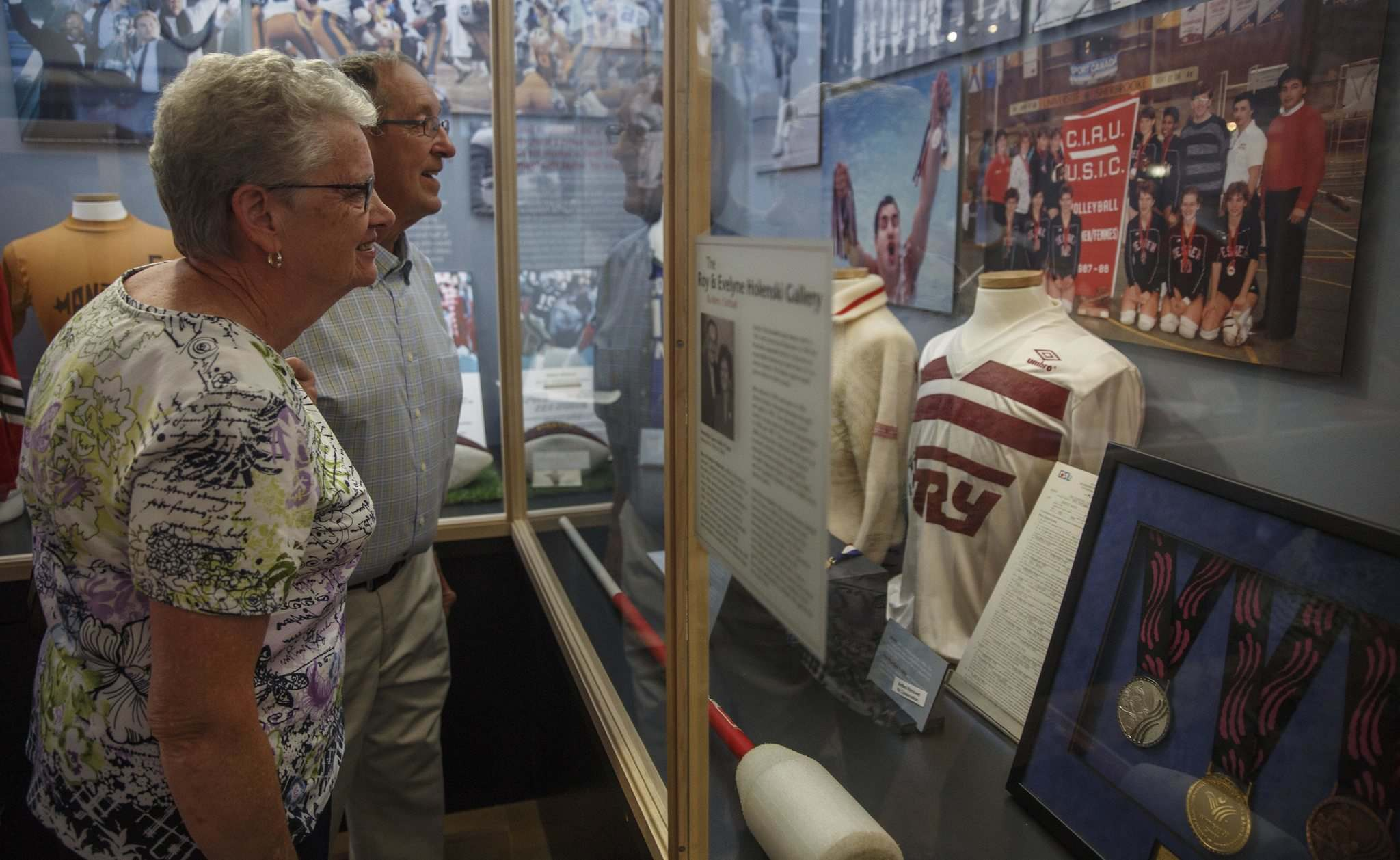 MIKE DEAL / WINNIPEG FREE PRESS</p><p>Erna Iwanoczko and her husband, Don, check out the new exhibition at the Manitoba Sports Hall of Fame showcasing 50 years of Canada Games history.</p>