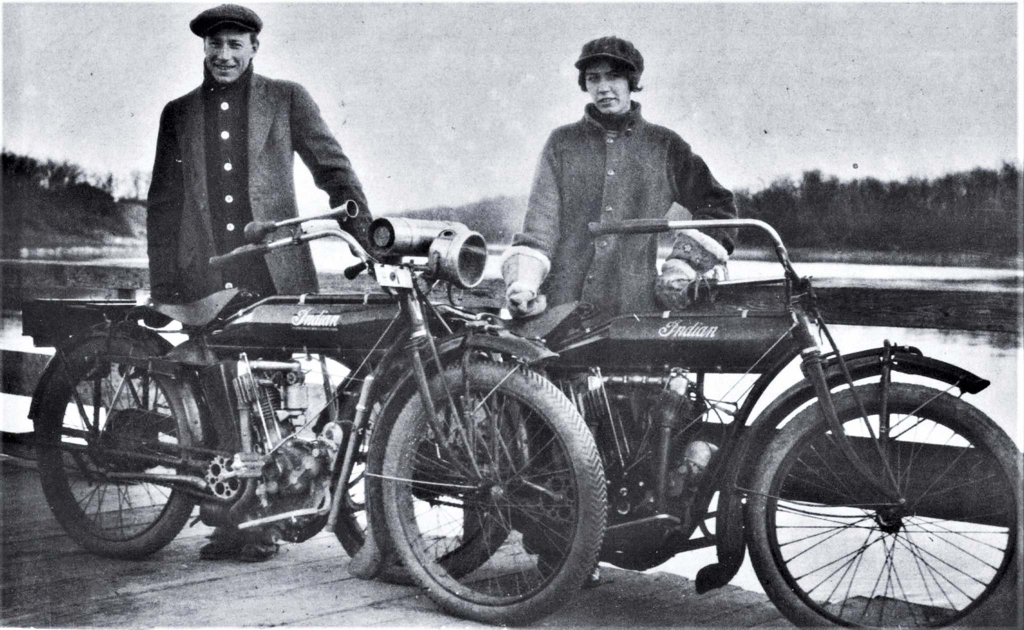 Sadie Grimm and her husband Jim Cruikshank with their Indian motorcycles.