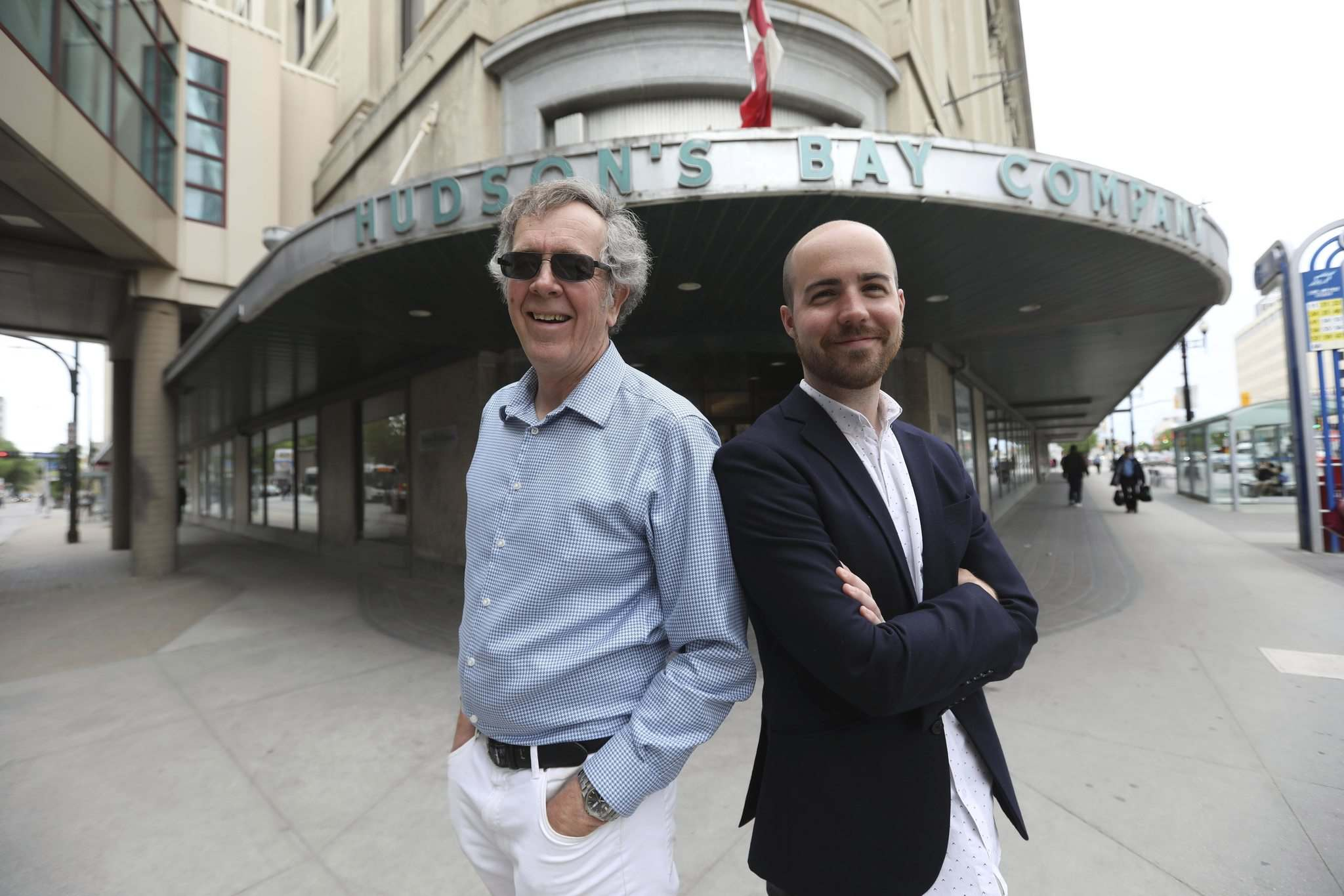 Dudley Thompson (left), founding principal of Prairie Architects, and architecture student Aaron Pollock.  (Ruth Bonneville / Winnipeg Free Press)