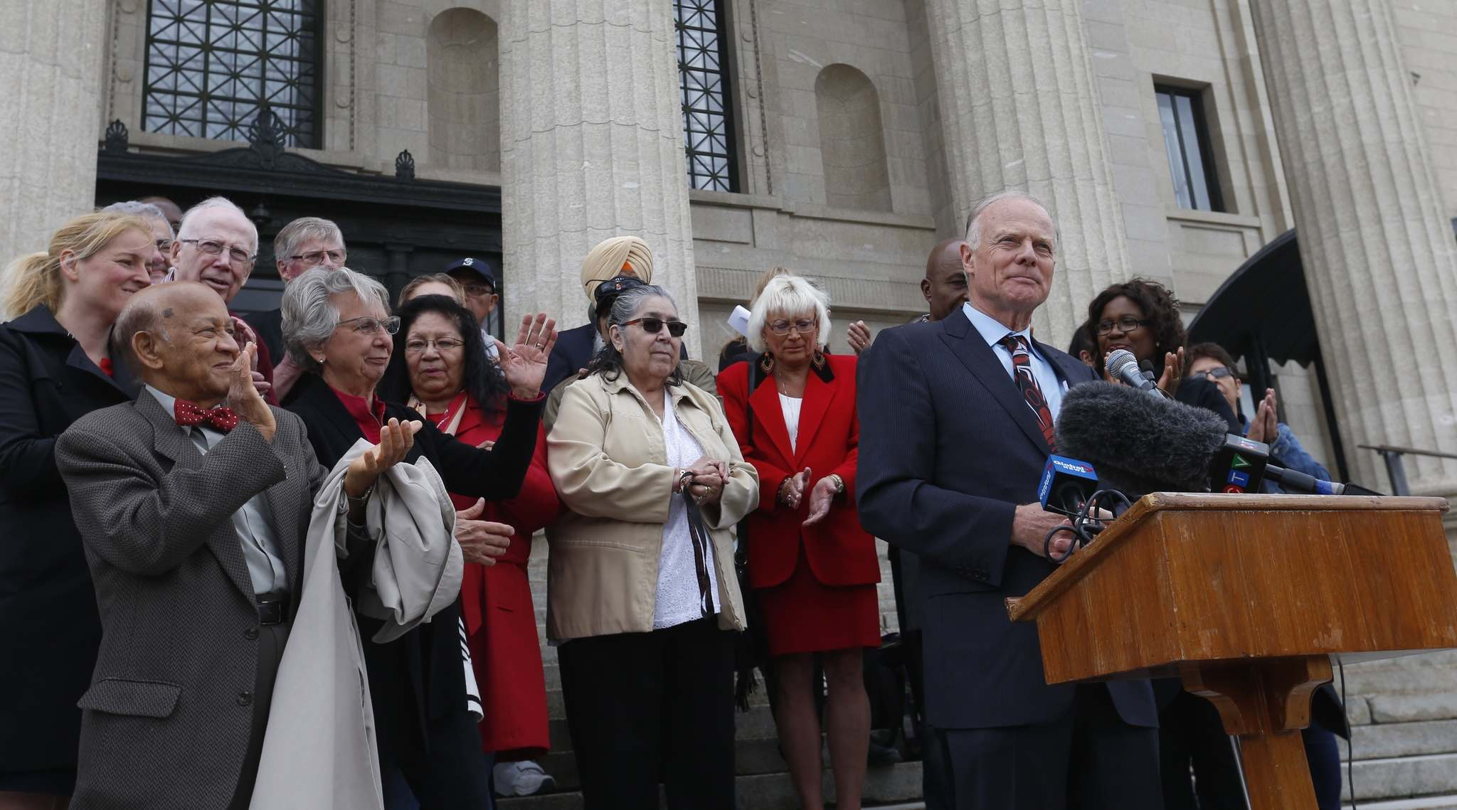 WAYNE GLOWACKI / WINNIPEG FREE PRESS</p><p>At podium, MLA Jon Gerrard with family and supporters announced Friday he is running for the Manitoba Liberal party leadership.</p>